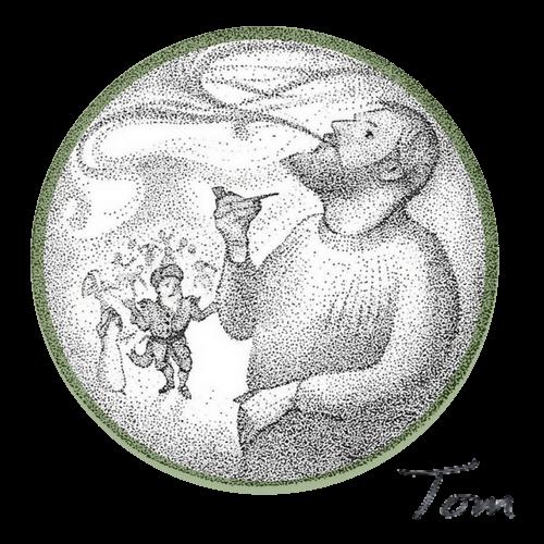 Bryce Muir's illustration of Tom Muir, storyteller, from Tom Muir's book, The Mermaid Bride, Orkney folklore