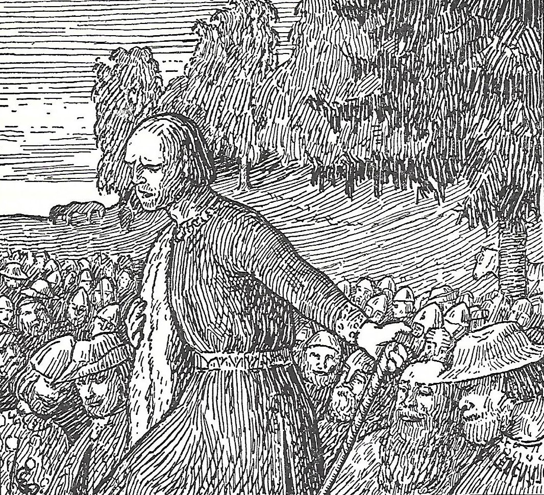 Old illustration of Viking man speaking