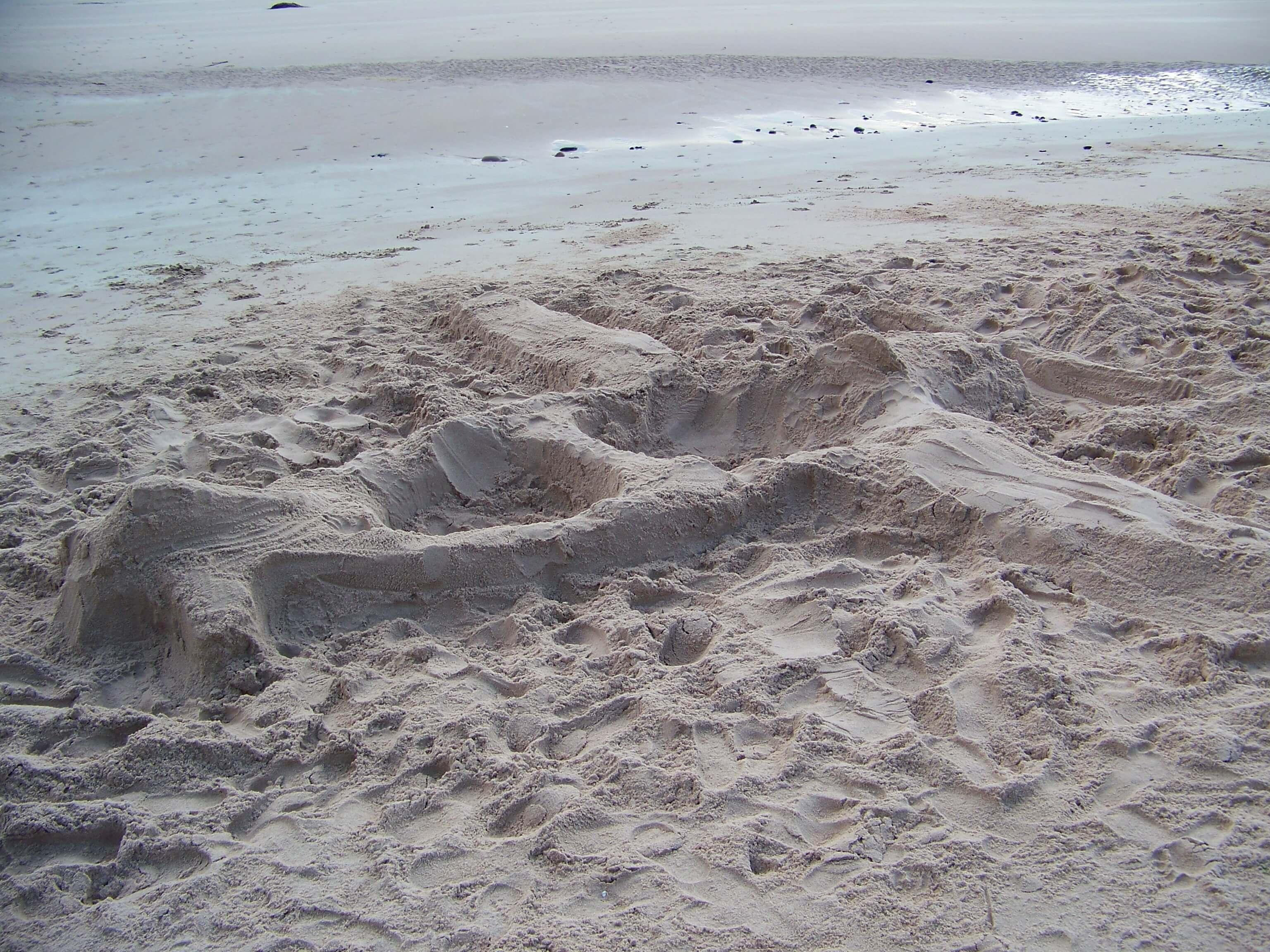 Sand sculpture on the beach, Hoy, Orkney