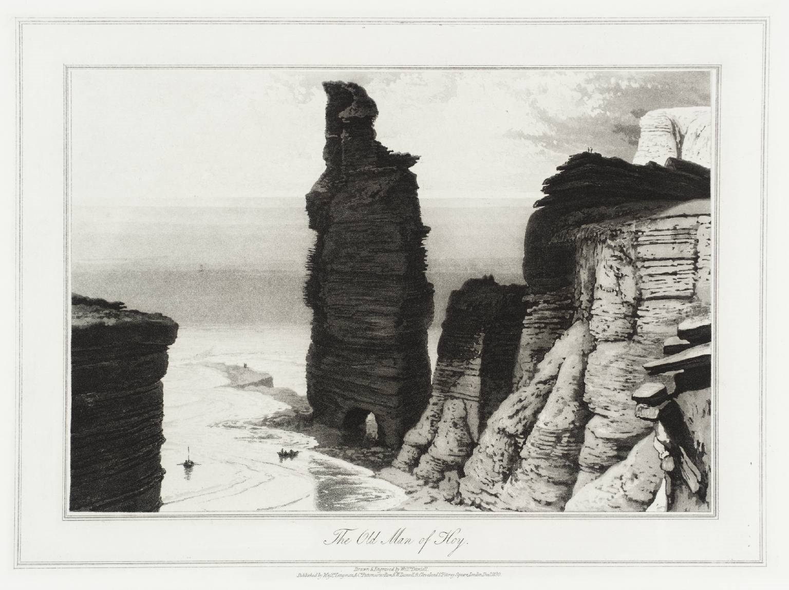 Vintage William Daniell illustration of the Old Man of Hoy
