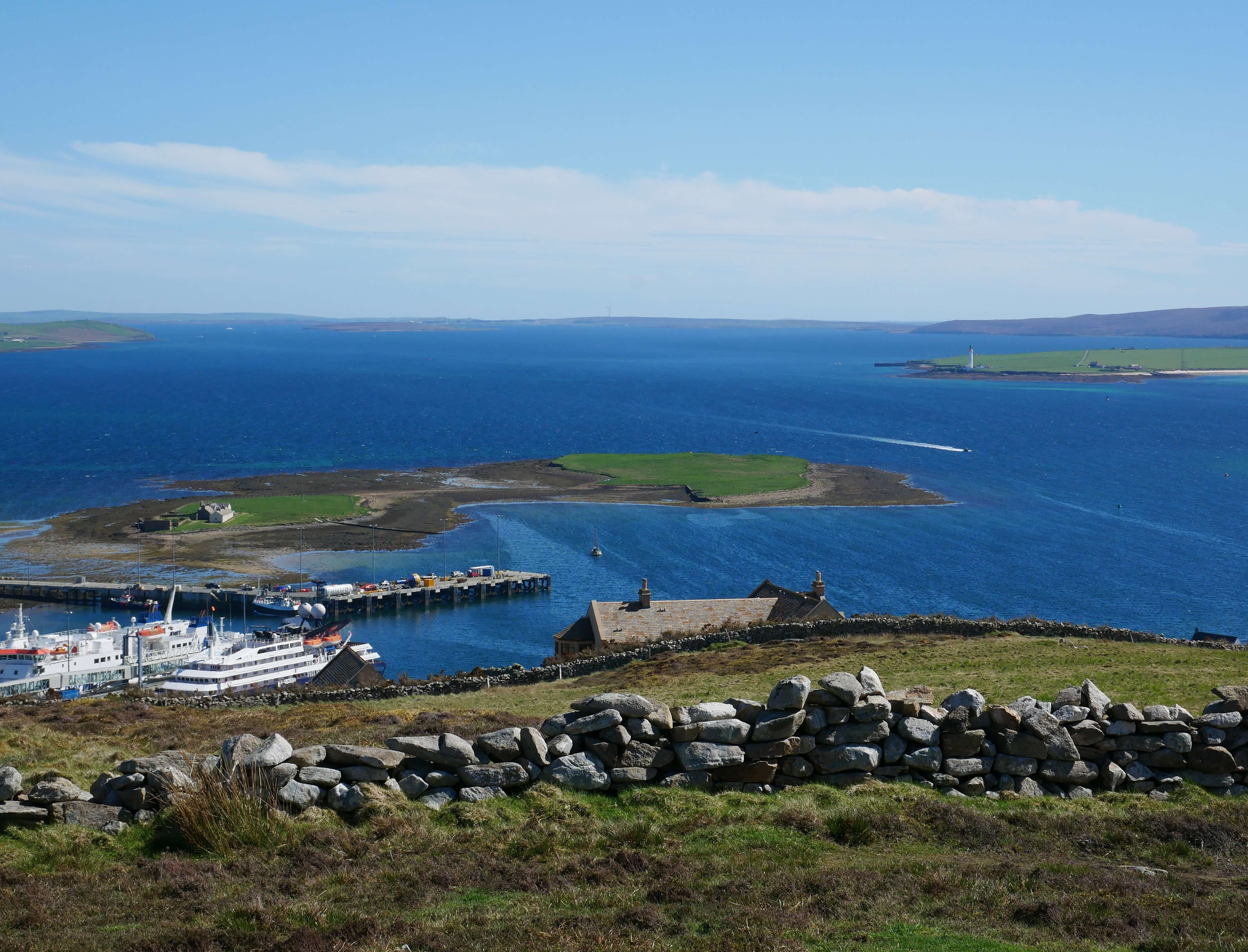 The Holms, Stromness, Orkney Islands, Scotland, as seen from Brinkie's Brae. Orkneyology.com