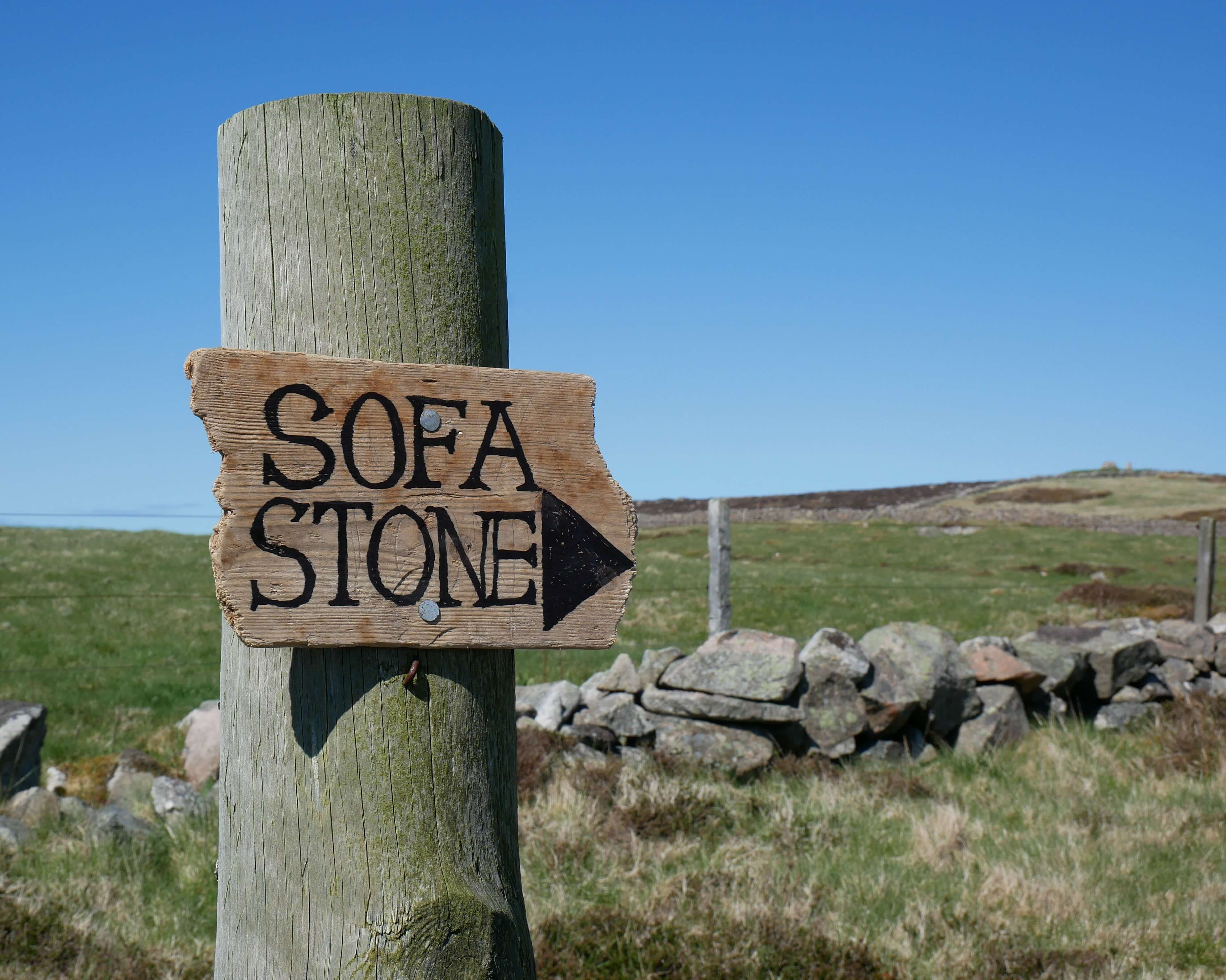 Sign for the stone sofa