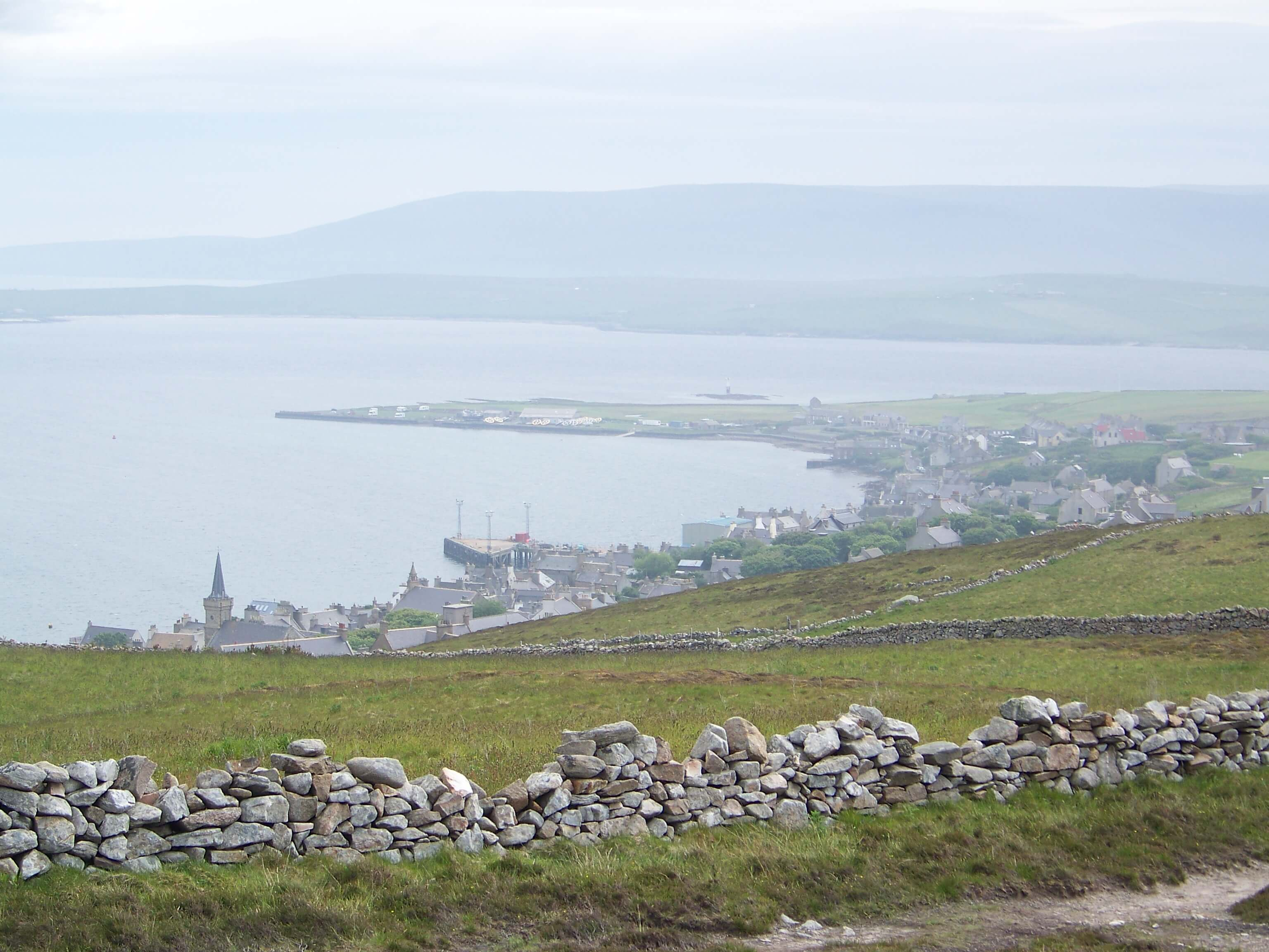 Misty view of Stromness, Orkney, from the brae