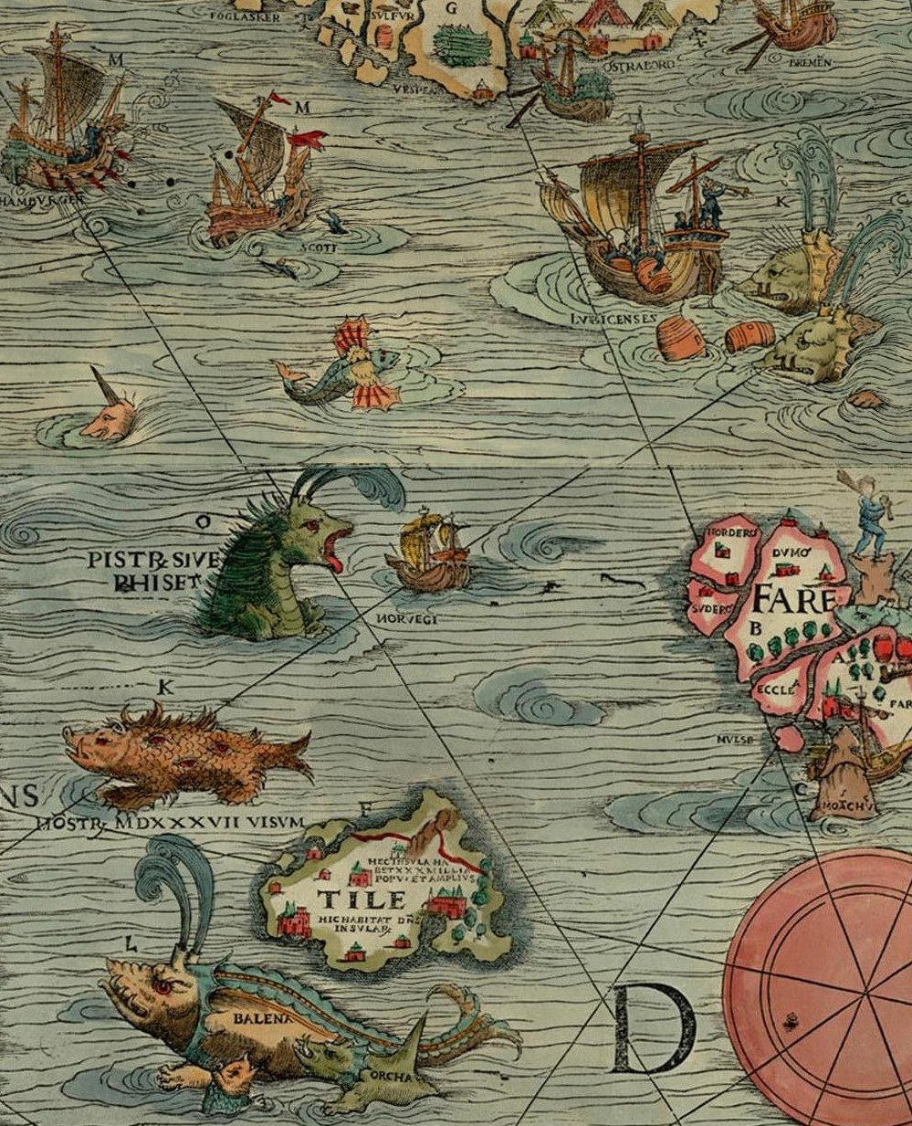 Sea monsters from the Carta Marine of Oalus Magnus, 1539, in the Orkney Museum, Kirkwall, Scotland, UK - Orkneyology.com