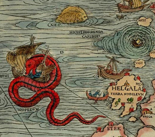 From the Carta Marine of Oalus Magnus, 1539, in the Orkney Museum, Kirkwall, Orkney Islands, Scotland - Orkneyology.com