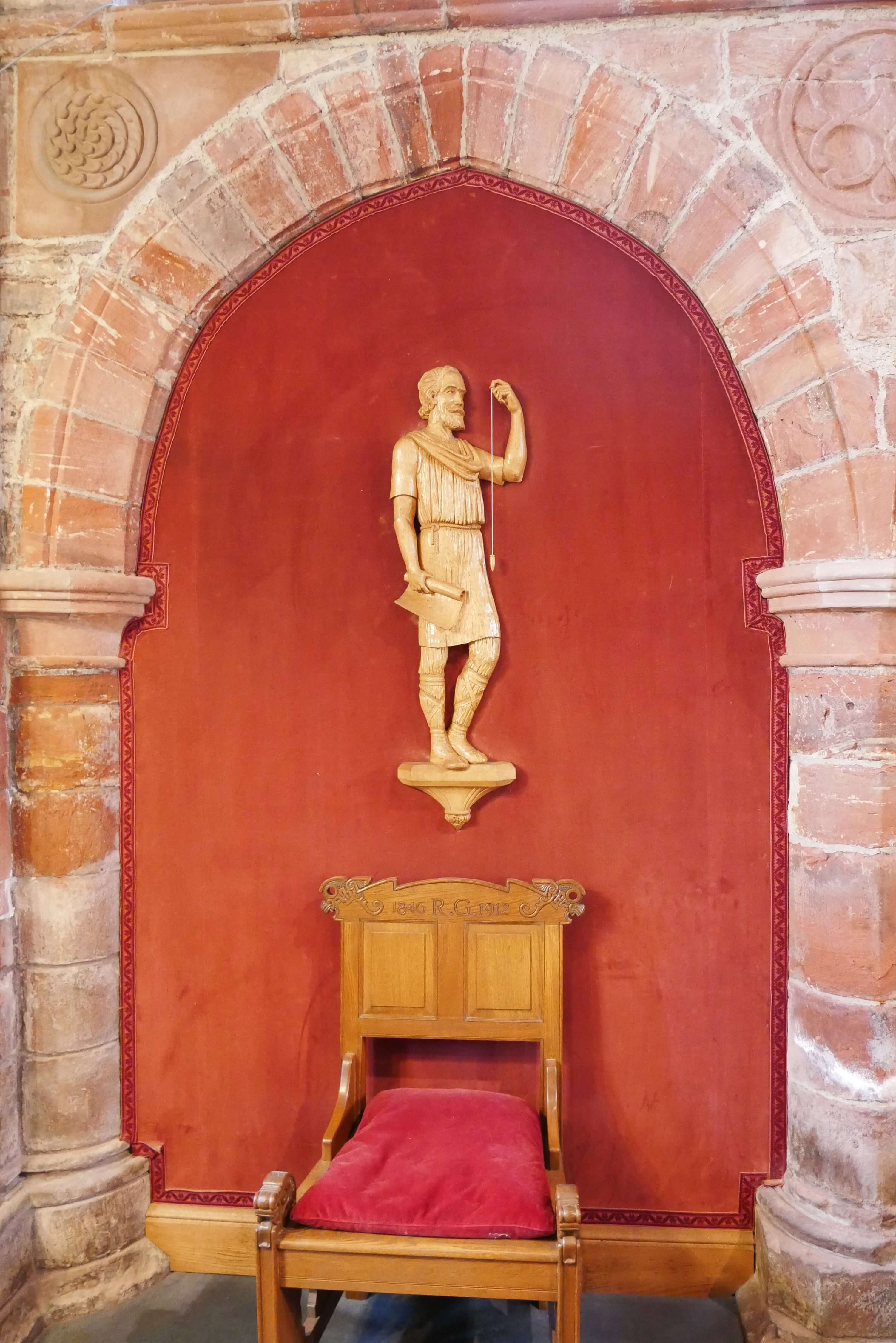 Carved representation of Kol Kalisson, St Rognavald's father who oversaw the early building of the cathedral in Kirkwall, Orkney, Scotland, UK
