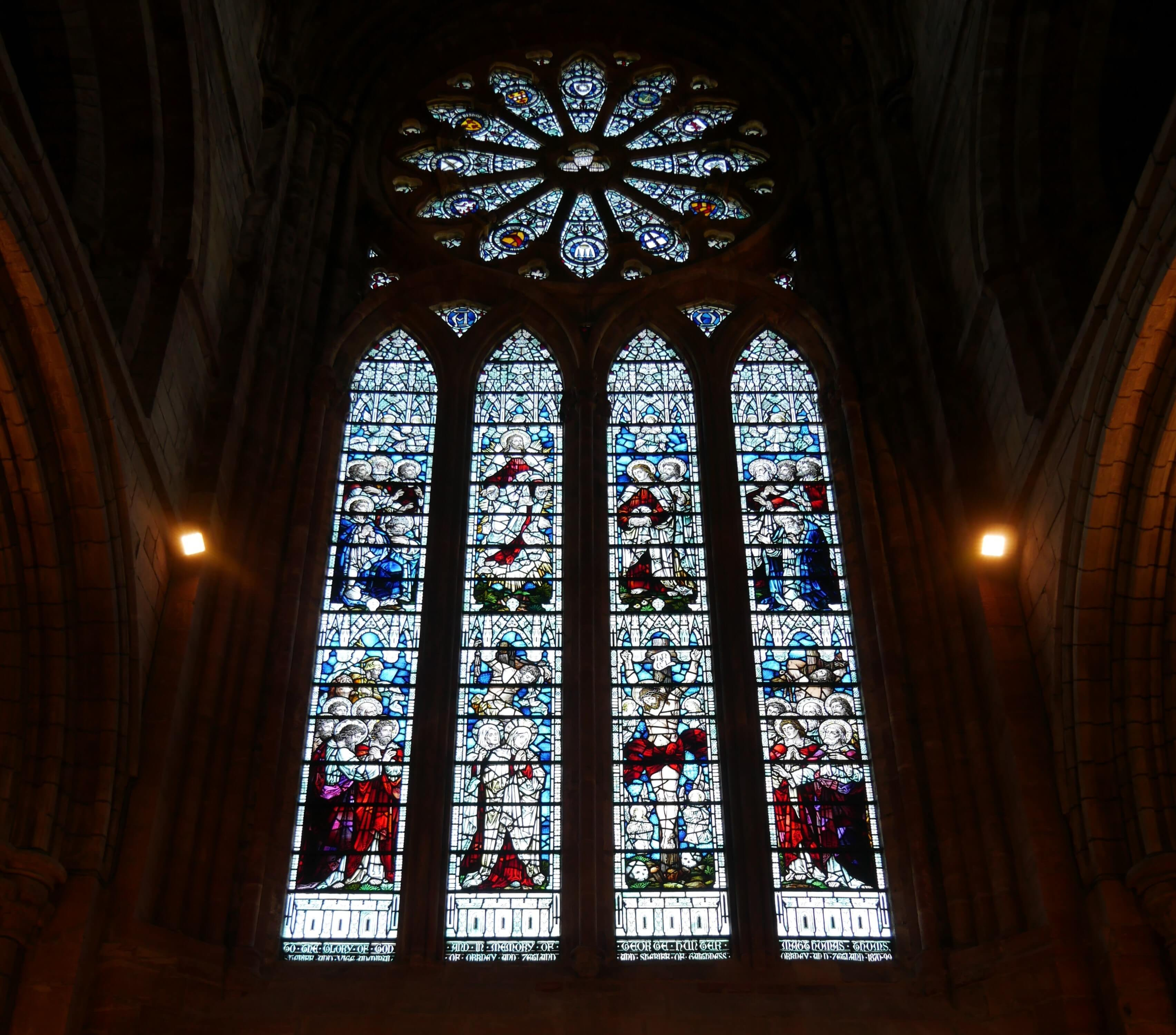 East window, stained glass, St Magnus Cathedral, Kirkwall, Orkney Islands, Scotland, UK