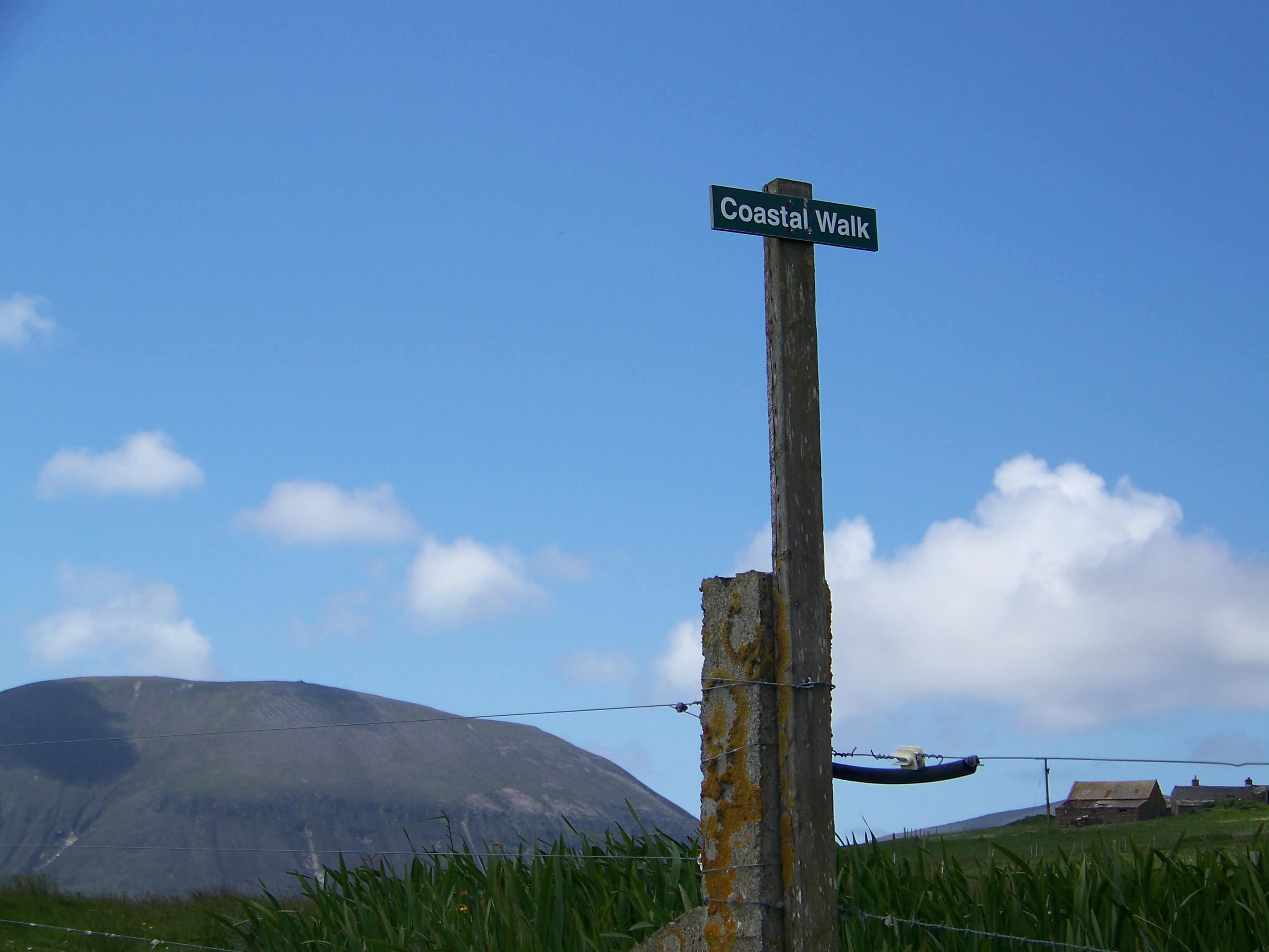 Coastal walk sign, Orkney island