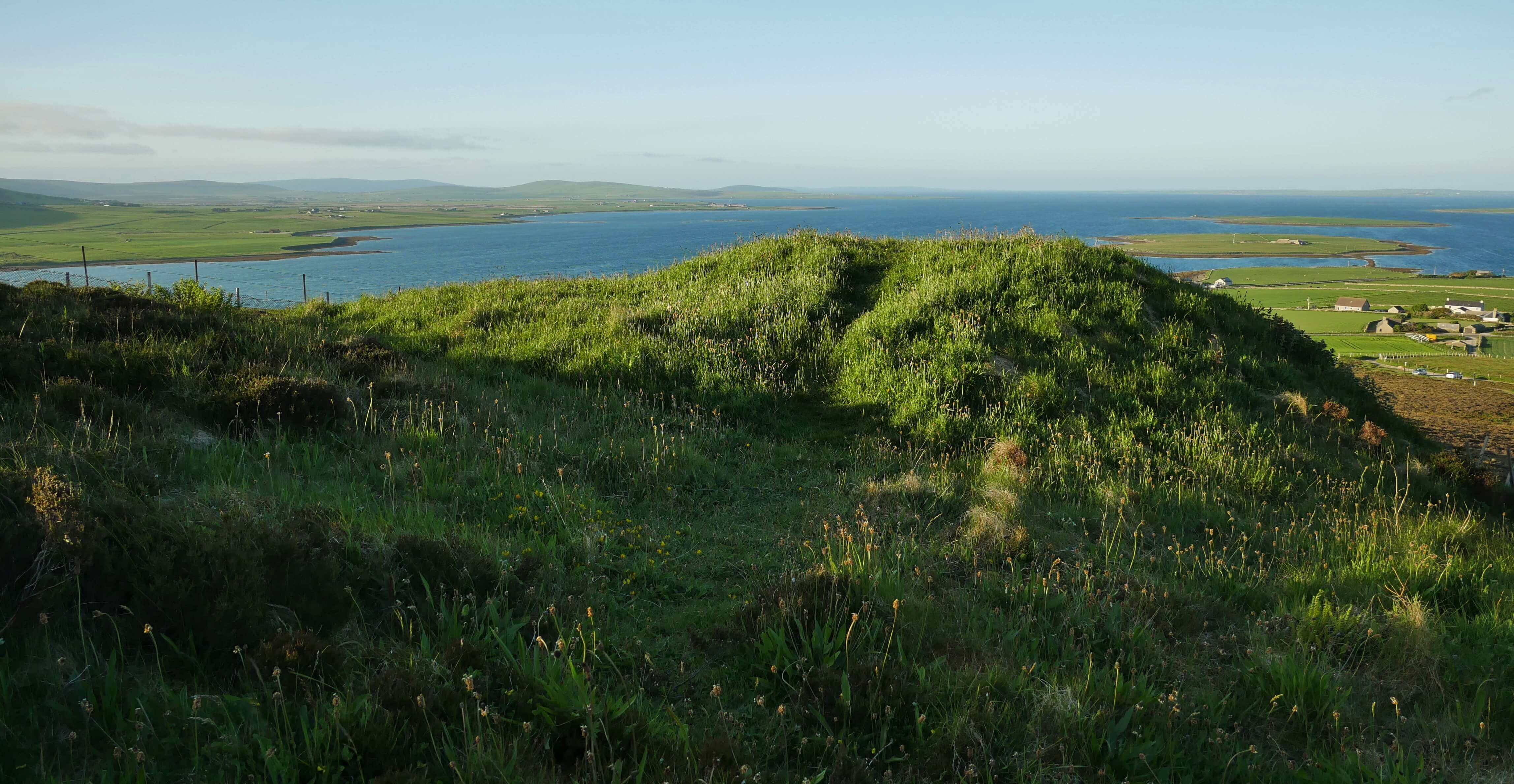 View from above Cuween Cairn, Finstown, Orkney, Scotland