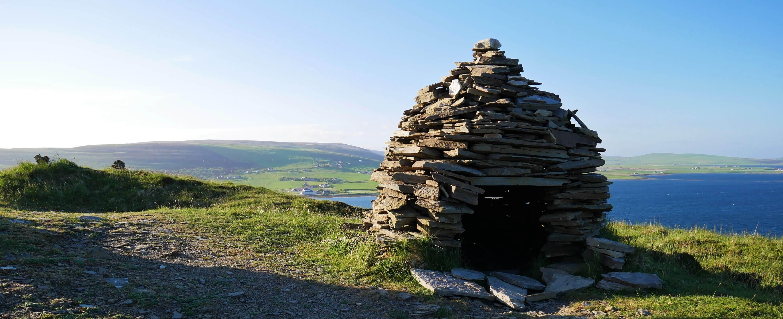 A modern hermit's hut above Cuween Chambered Cairn, Finstown, Orkney, Scotland