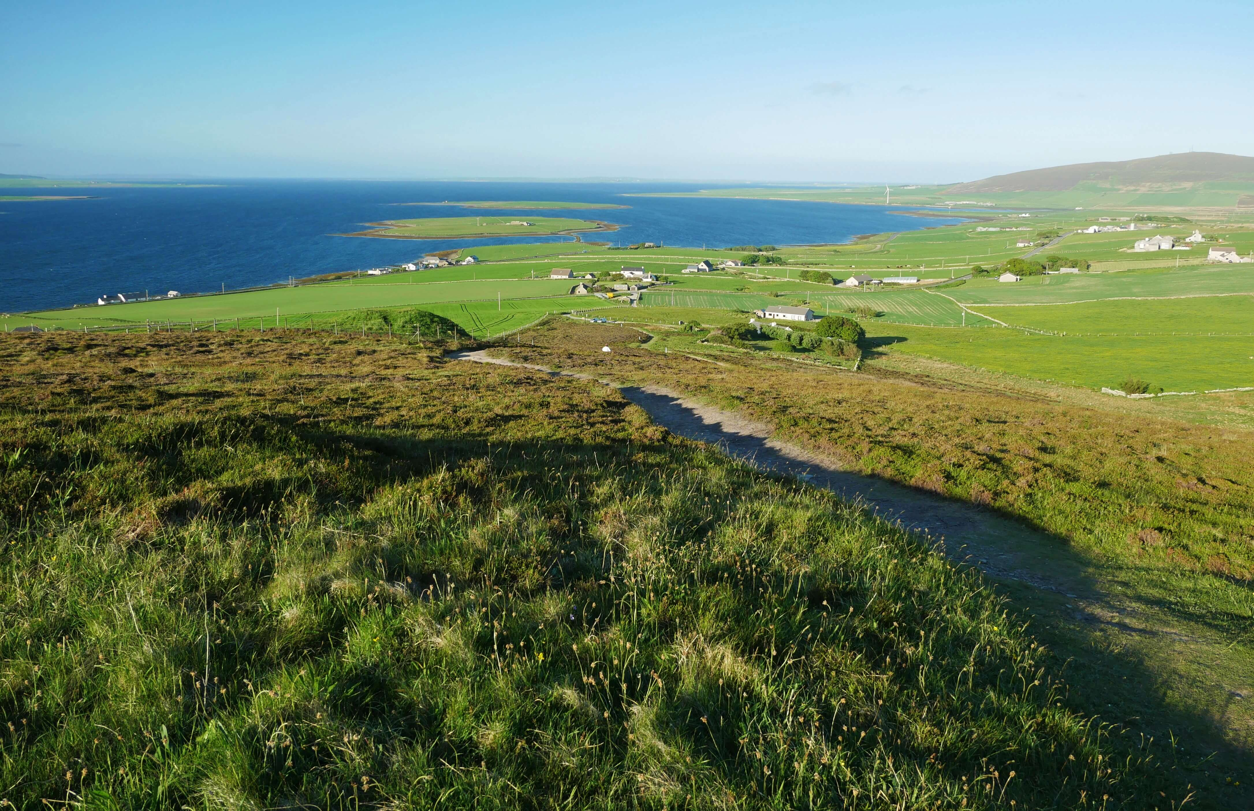 The view from the chambered cairn, Finstown, Orkney, Scotland