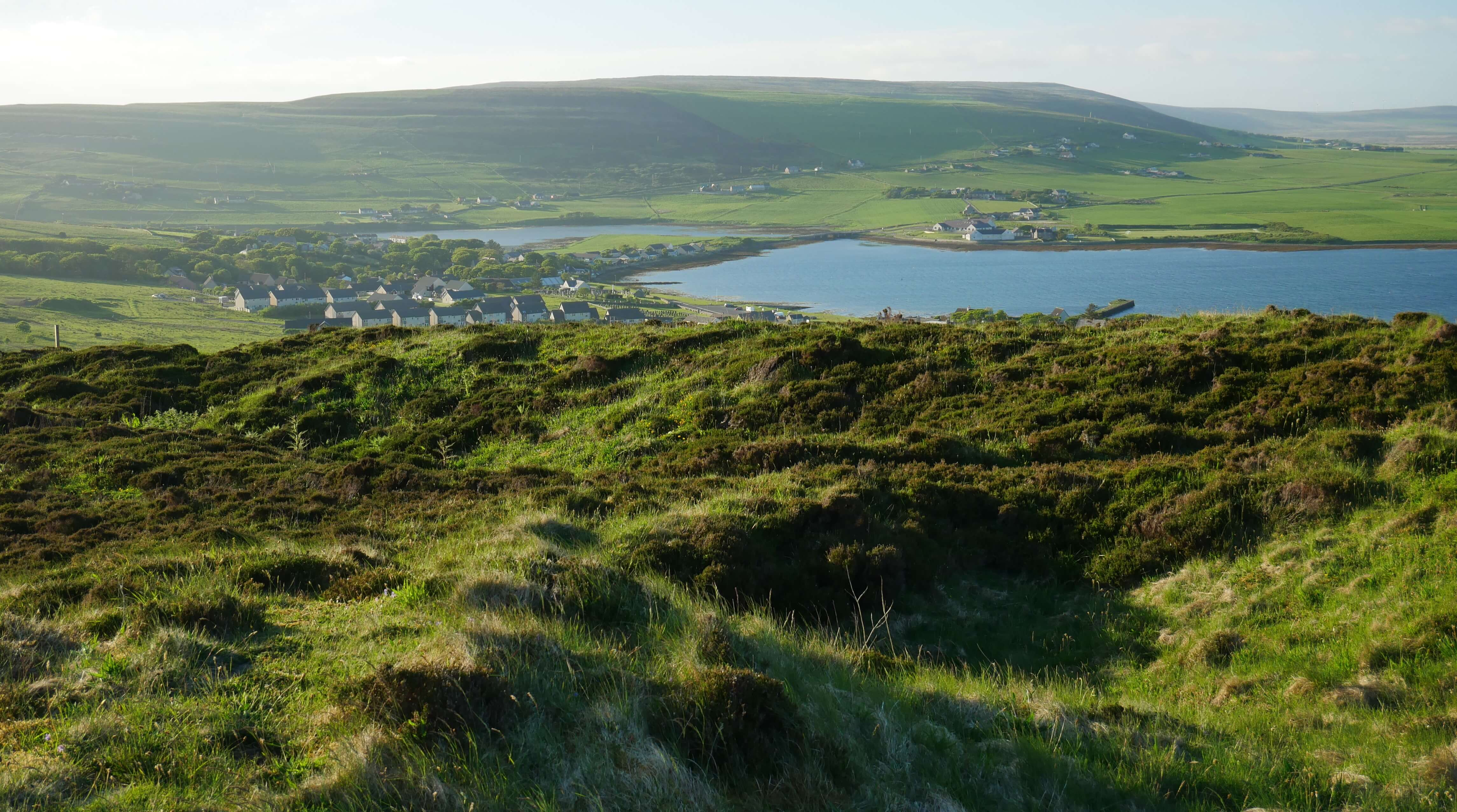 View from Cuween Chambered Cairn, Finstown, Orkney, Scotland