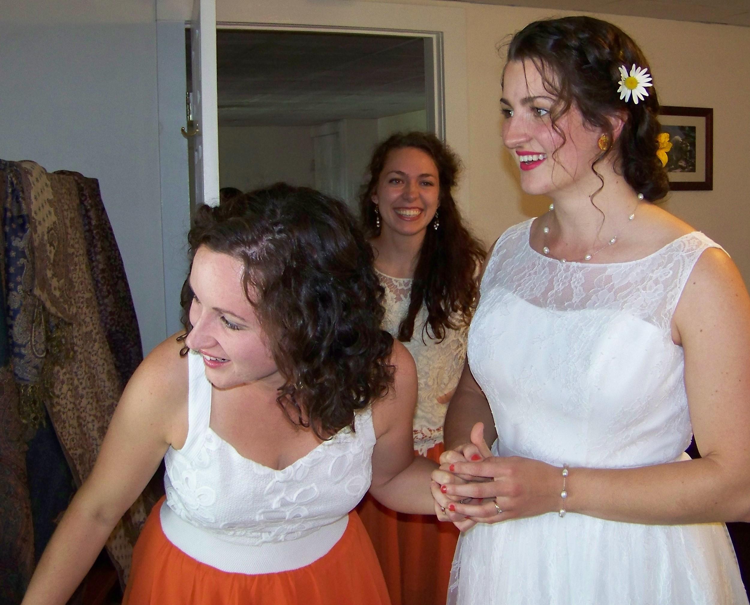 Sisters at a wedding.
