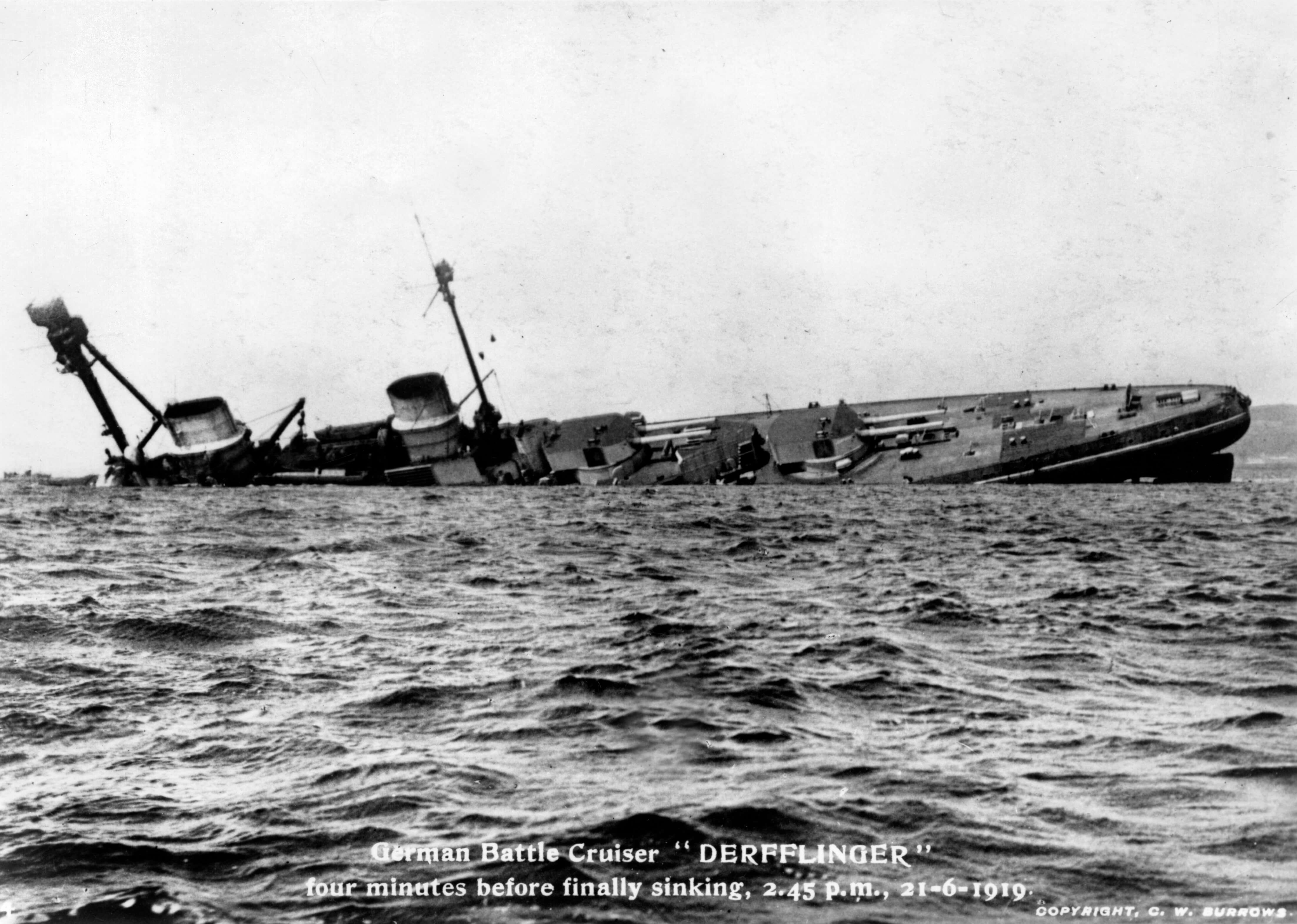 German Battle Cruiser Derfflinger sinking in Orkney's Scapa Flow, WWI