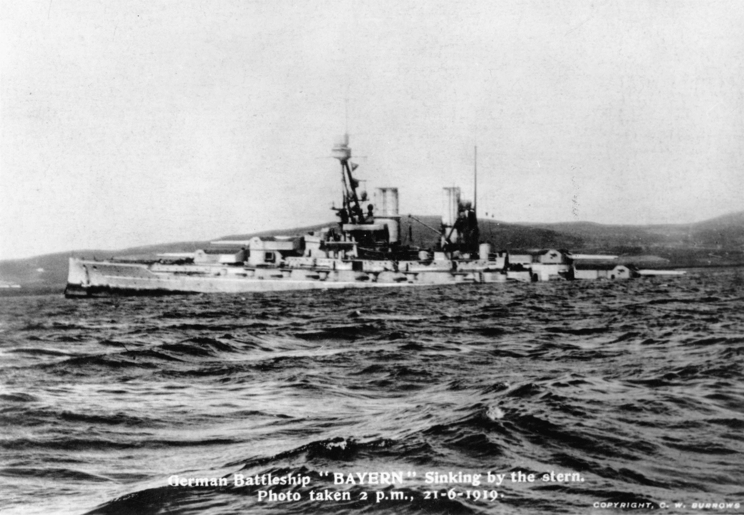 German Battleship Beyern sinking in the Orkney Islands' Scapa Flow, WWI scuttling of the High Seas Fleet