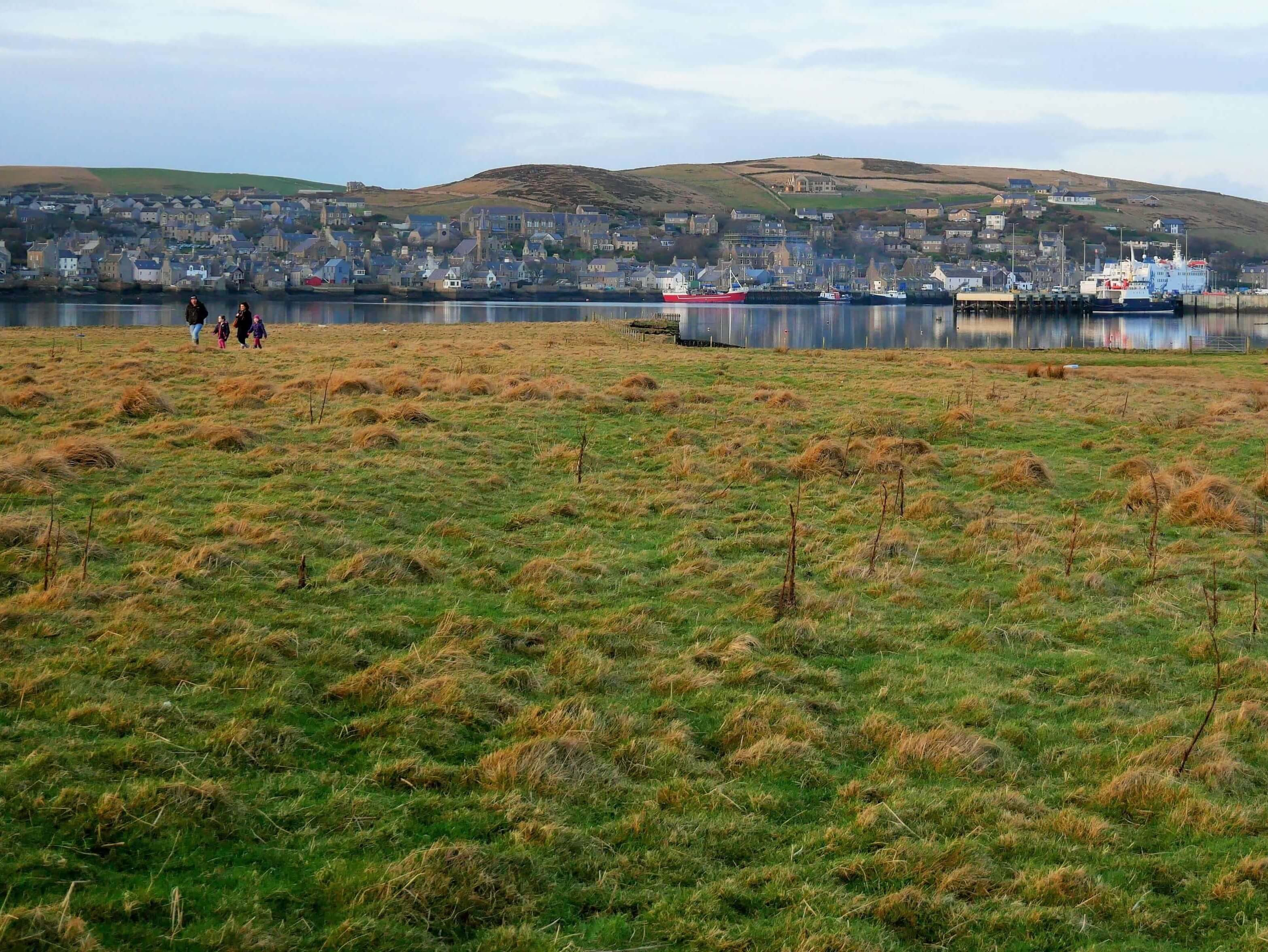 View of Stromness, Orkney, Scotland, from a tidal island.