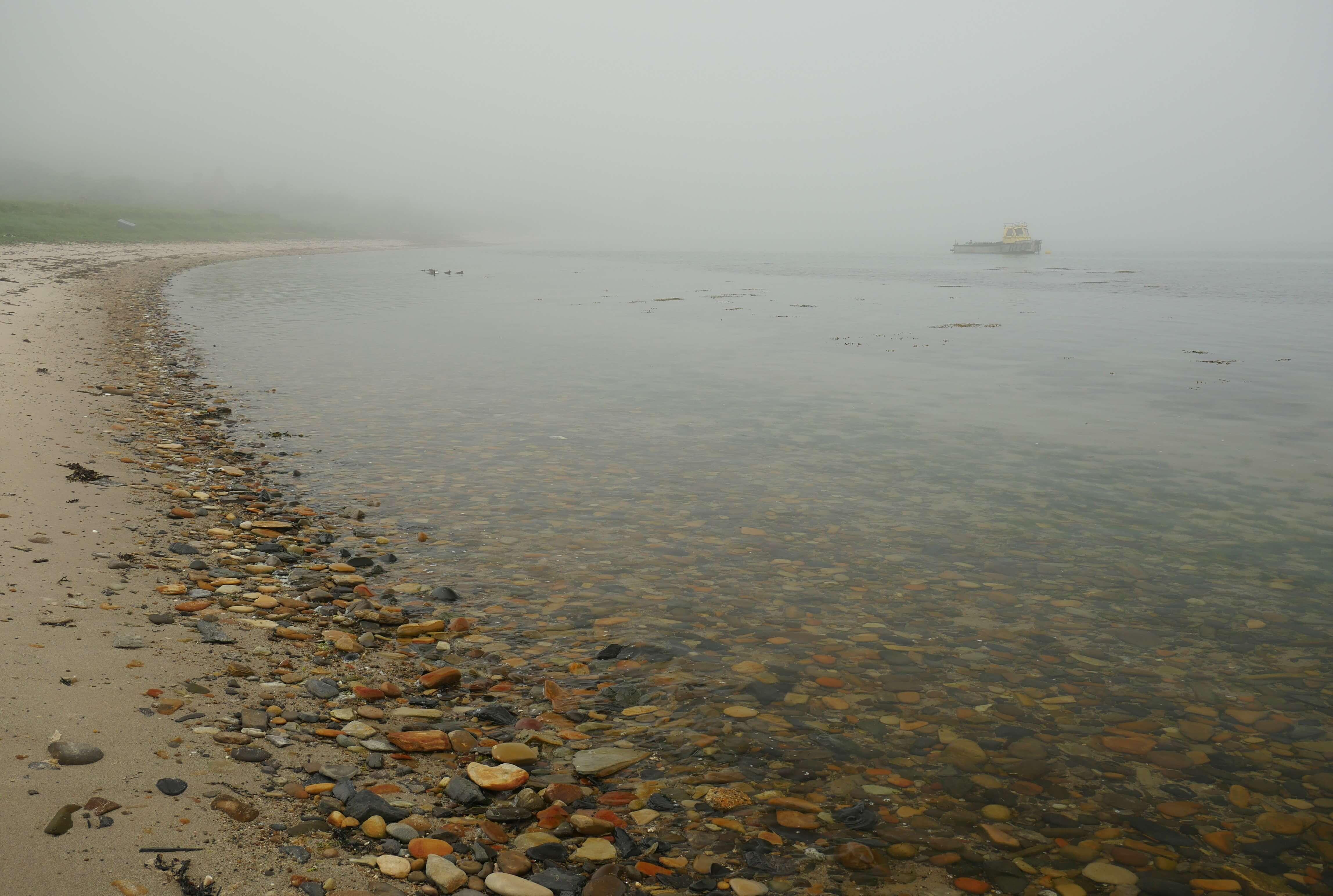 Misty beach, island of Hoy, Orkney, Scotland, UK