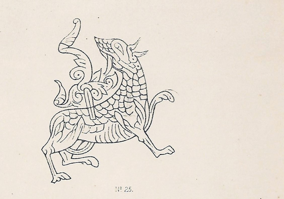 Drawing of the Maeshowe dragon, Orkney Islands, Scotland, UK