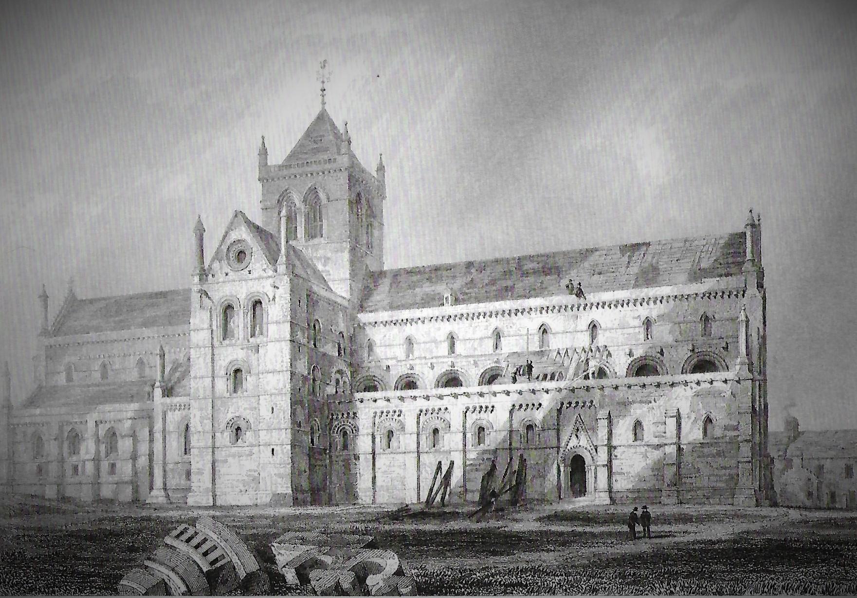 Old illustration of cathedral - Kirkwall, Orkney Islands, Orkney, Scotland, UK