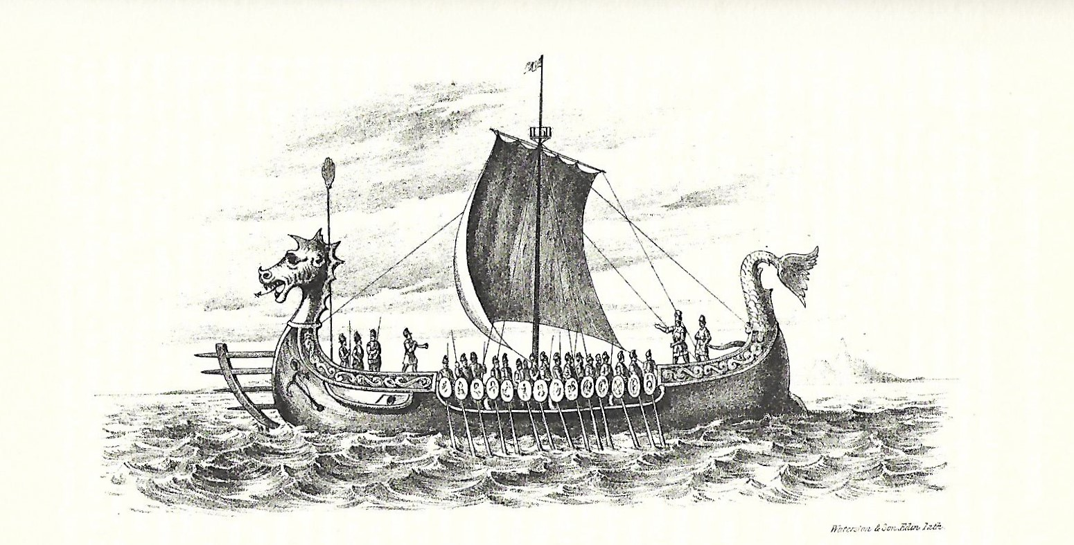 Victorian era illustration of a Viking longship