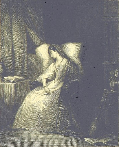 Old illustration of a woman sleeping in a chair