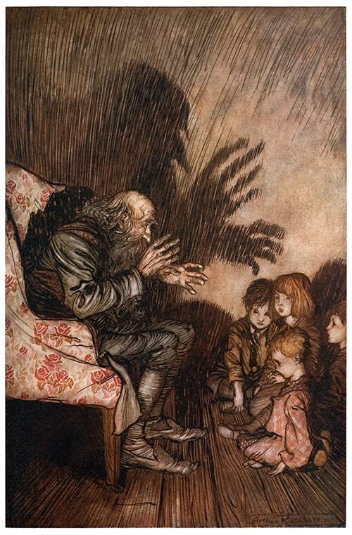 Arthur Rackham illustration of an old storyteller enthralling children with his tales