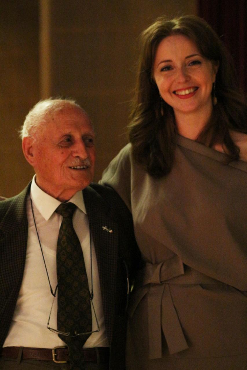 Gino Caprara, WWII Italian POW war veteran on his 100th birthday, with his translator, Inga Semple. #Orkneyology.com