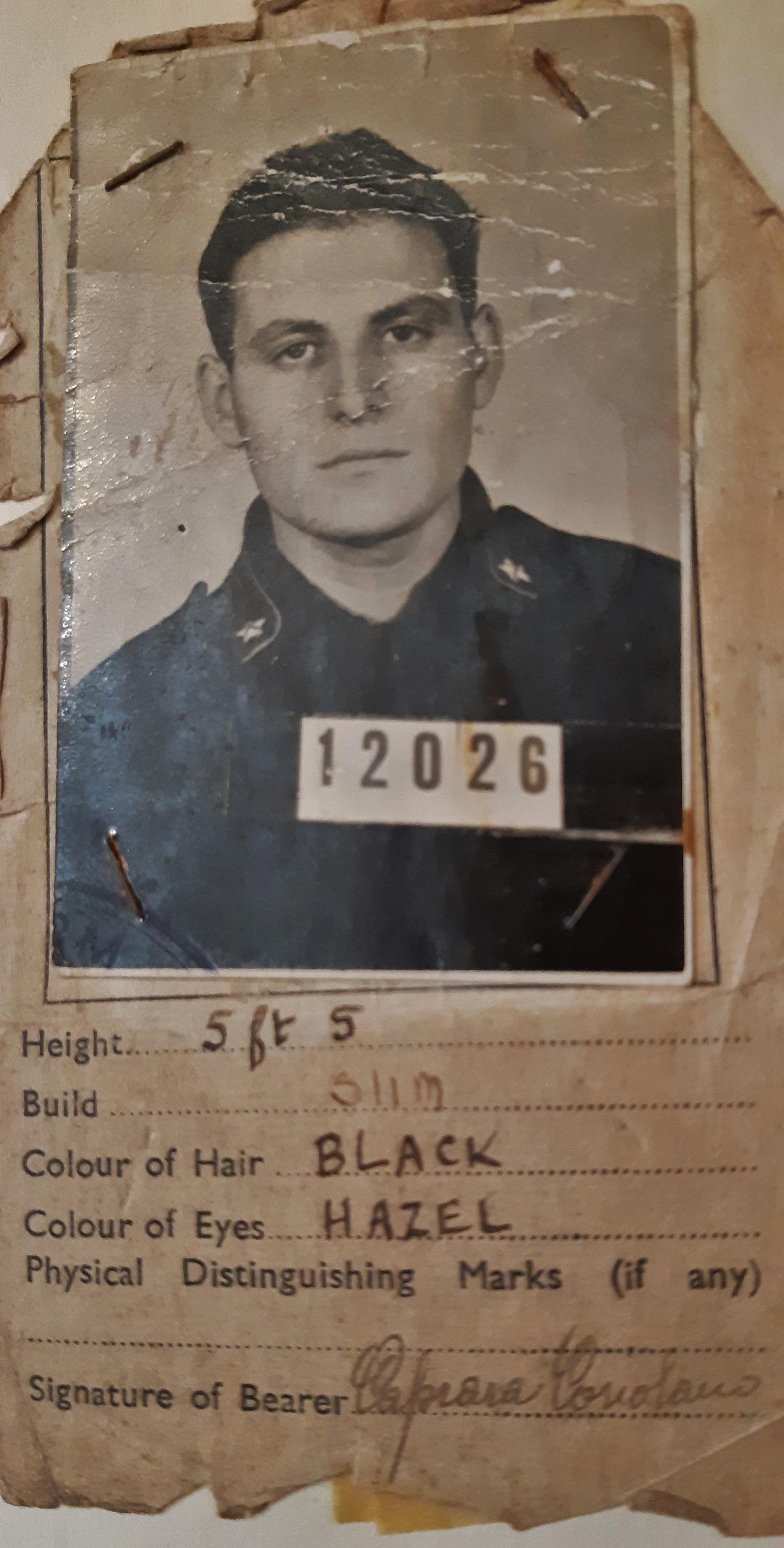 Italian soldier Coriolano Caprara's POW ID. #Orkneyology.com