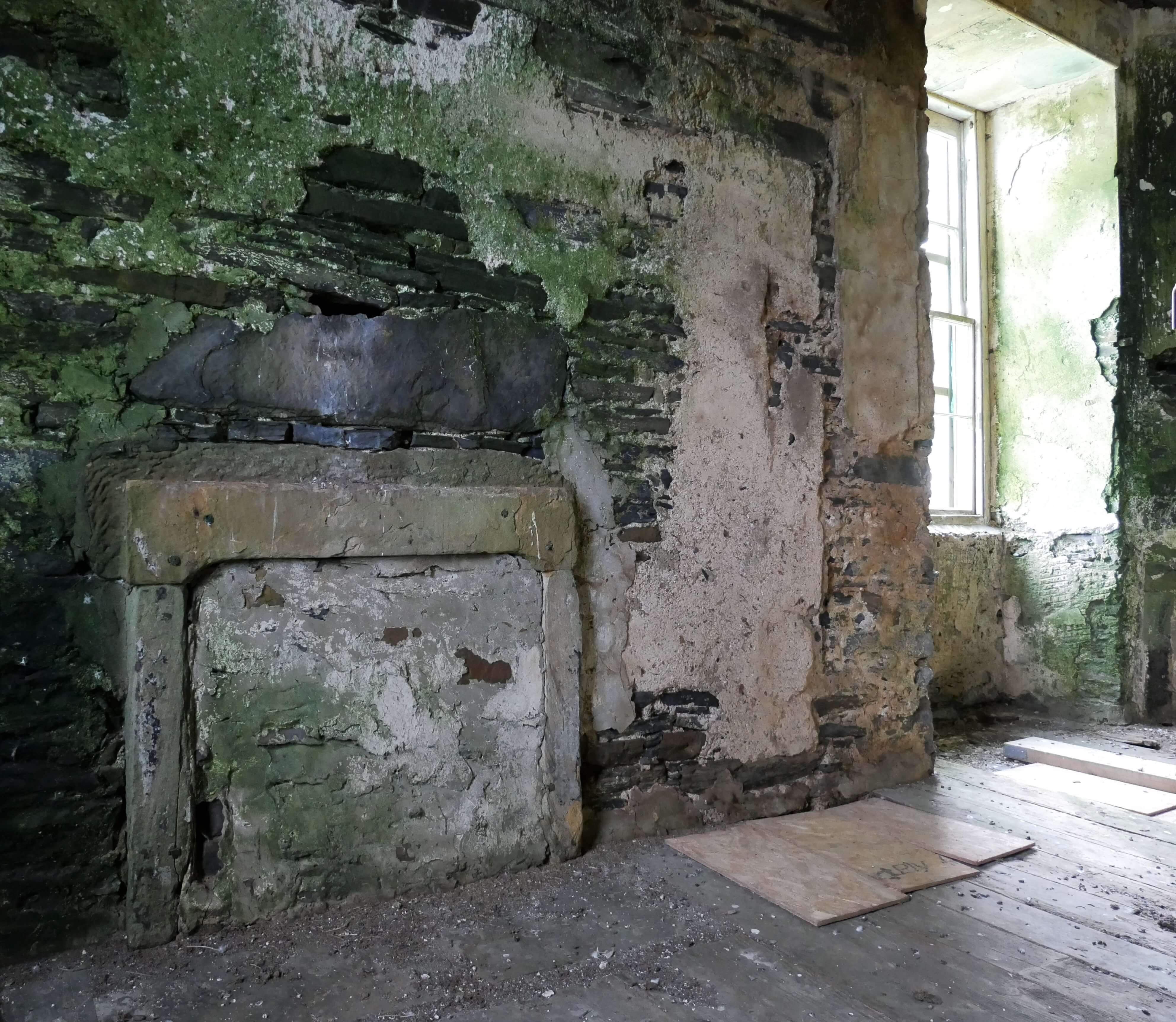 Fireplace in the Hall of Clestrain, Rae's birthplace, Orphir, Orkney Islands, Scotland, UK