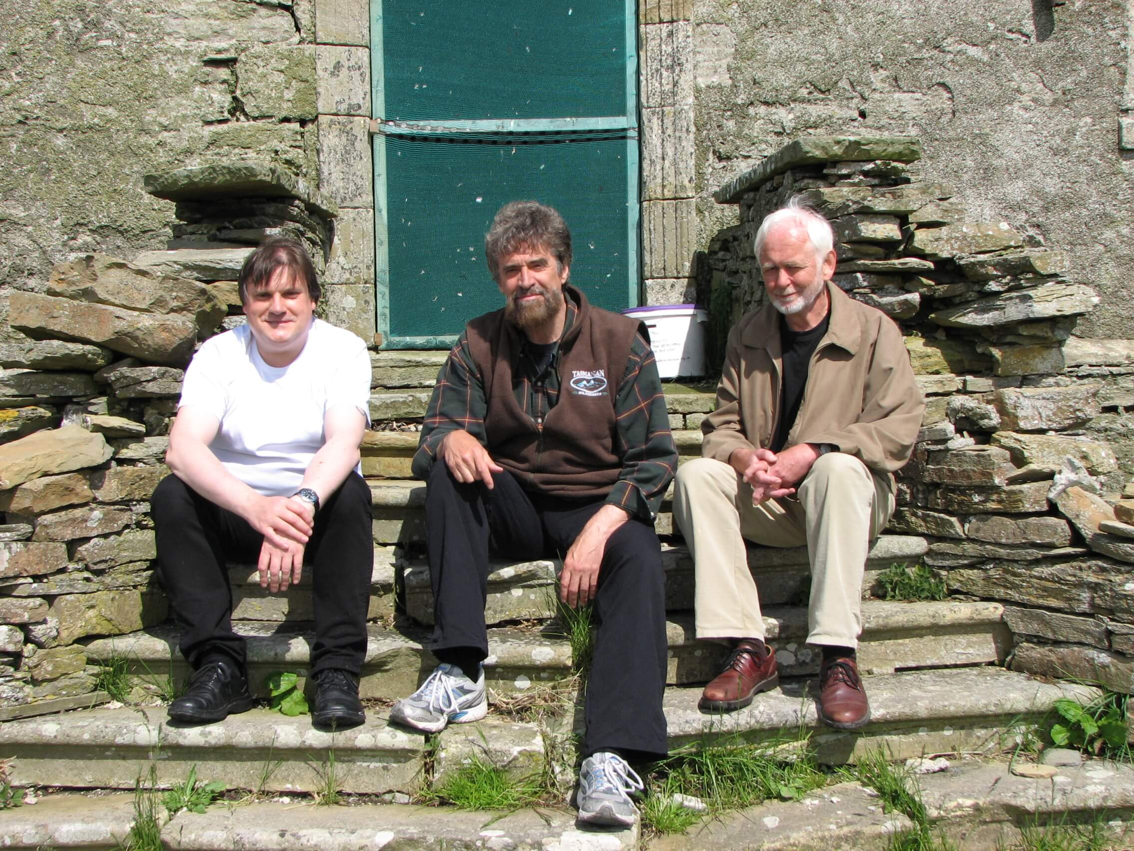 Authors Tom Muir, Ken McGoogan and Bryce Wilson - longtime champions of Rae at Rae's birthplace, the Hall of Clestrain