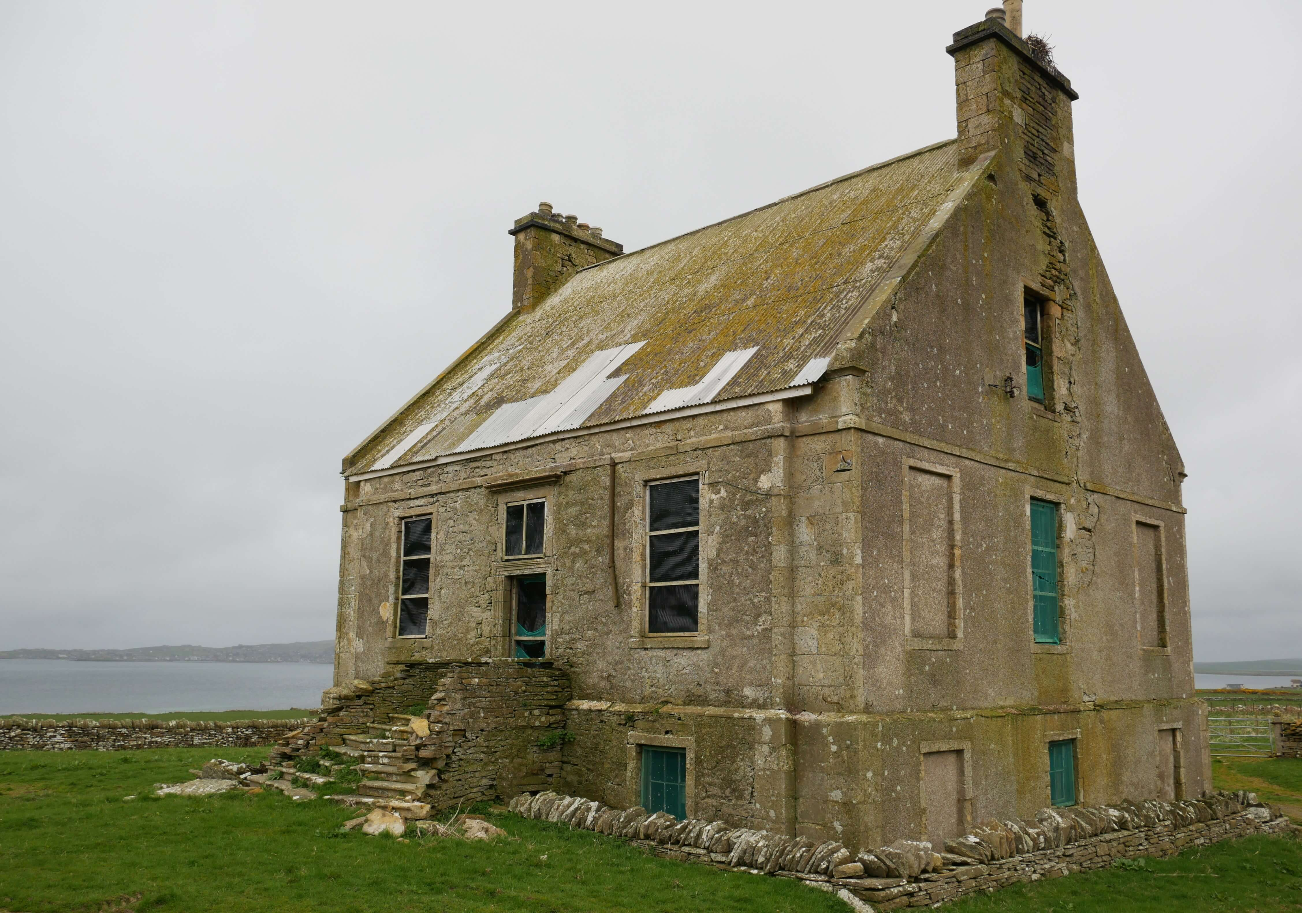 The ruinous state of the Hall of Clestrain, birthplace of Arctic explorer, Rae, Orphir, Orkney Islands, Scotland, UK