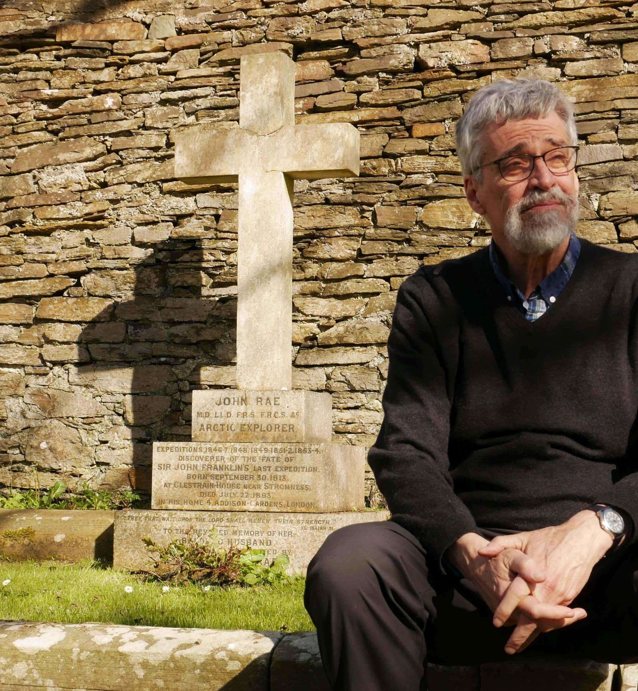 Ken McGoogan, author of Fatal Passage and many other books about Arctic exploration at Rae's grave, St Magnus Cathedral, Orkney, Scotland, UK