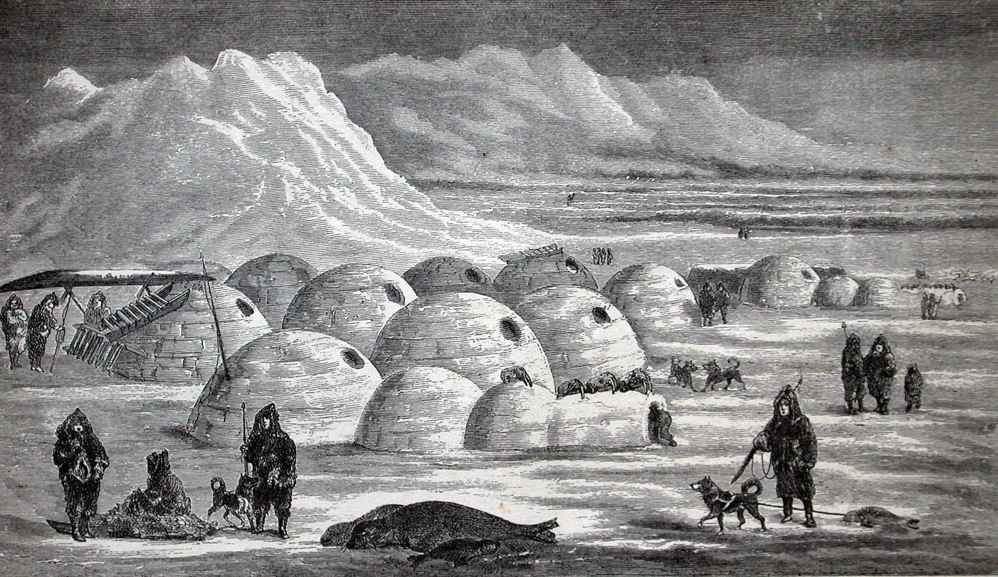 Old illustration of Inuit village life