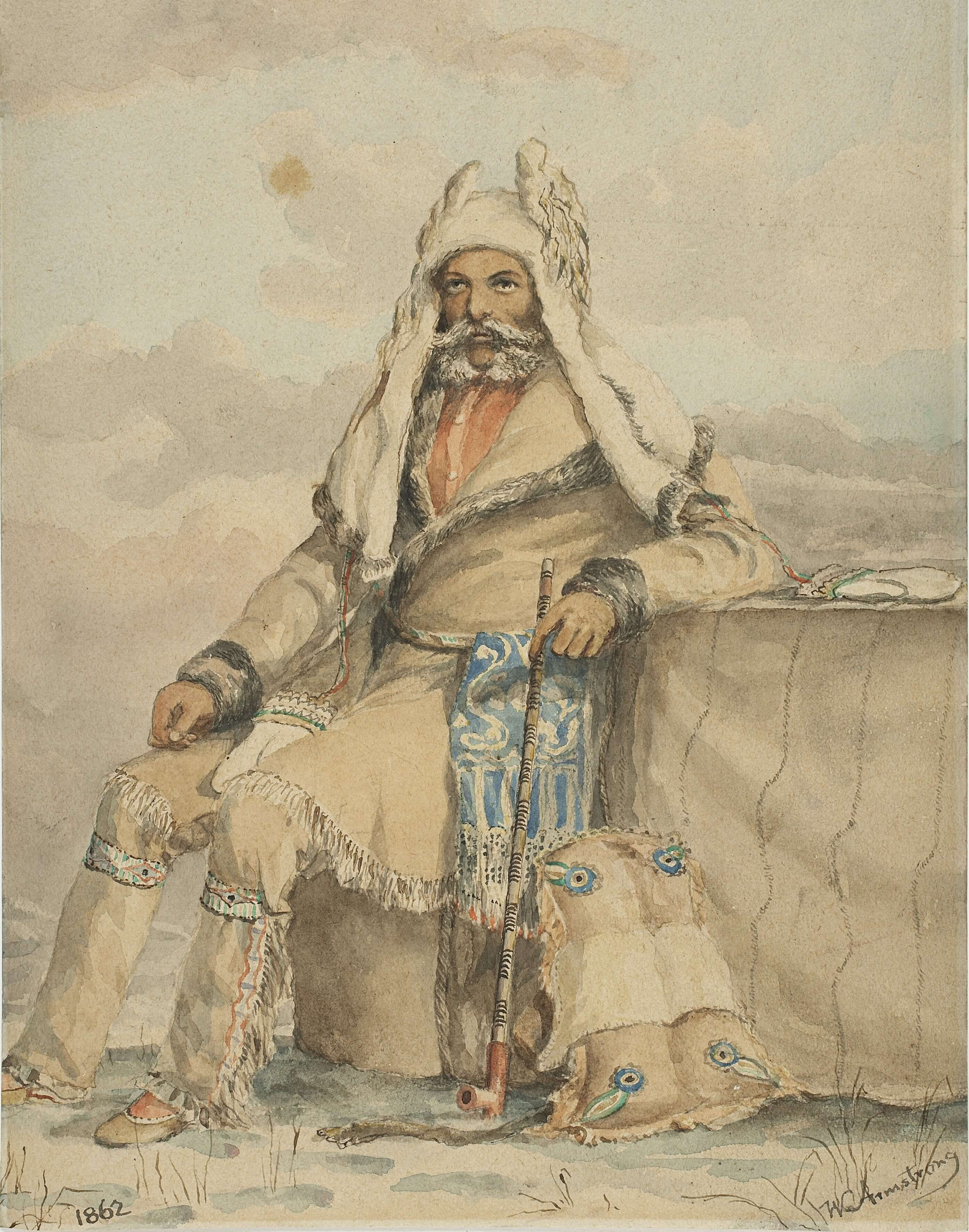 Old painting of Arctic explorer, Orcadian man J Rae in Cree costume