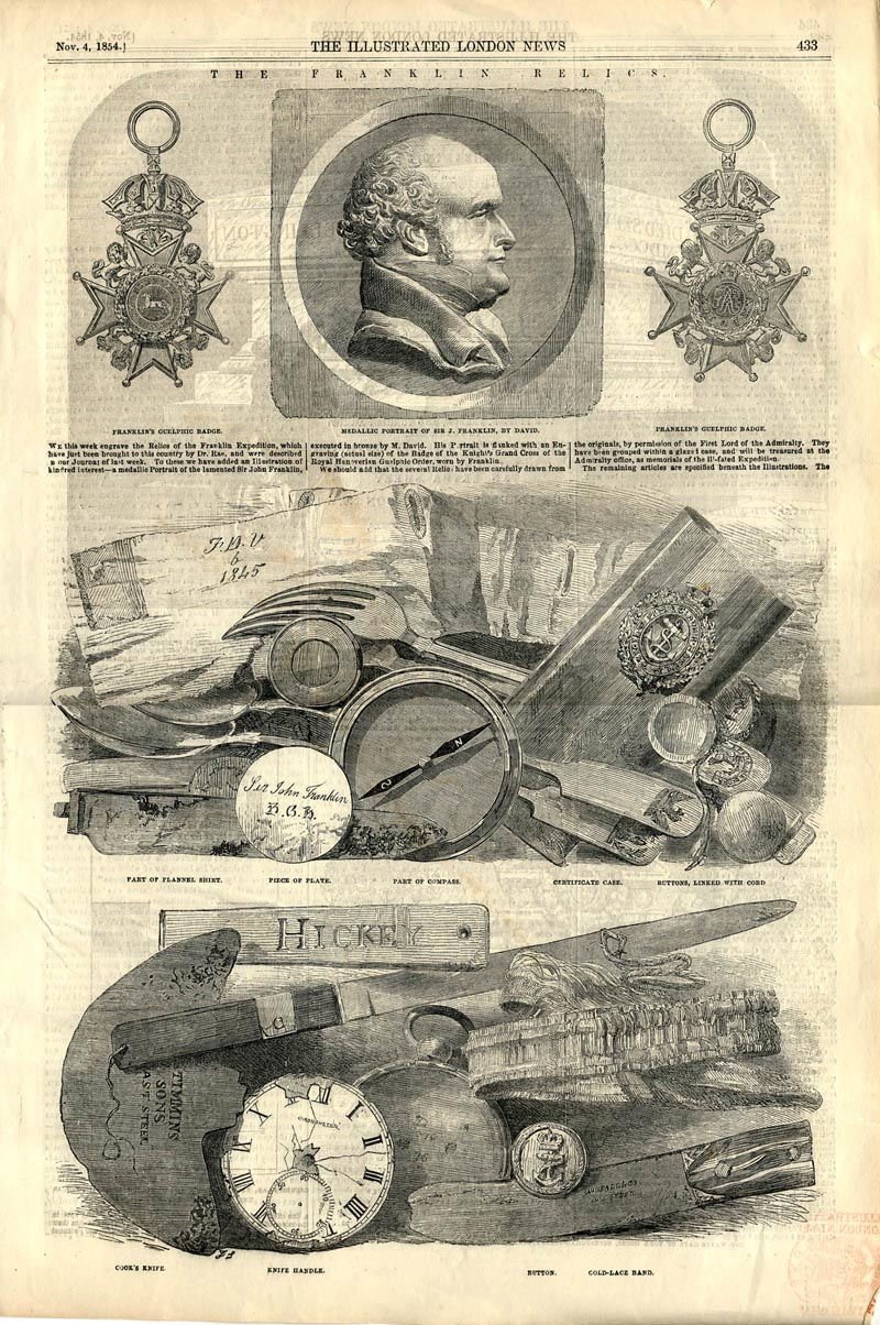 Illustrated London News showing some of the Franklin expedition artefacts that Orcadian J Rae traded for with the Inuit