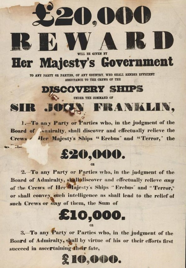 Reward notice for information leading to the recovery of the Erebus and Terror, Franklin's lost ships