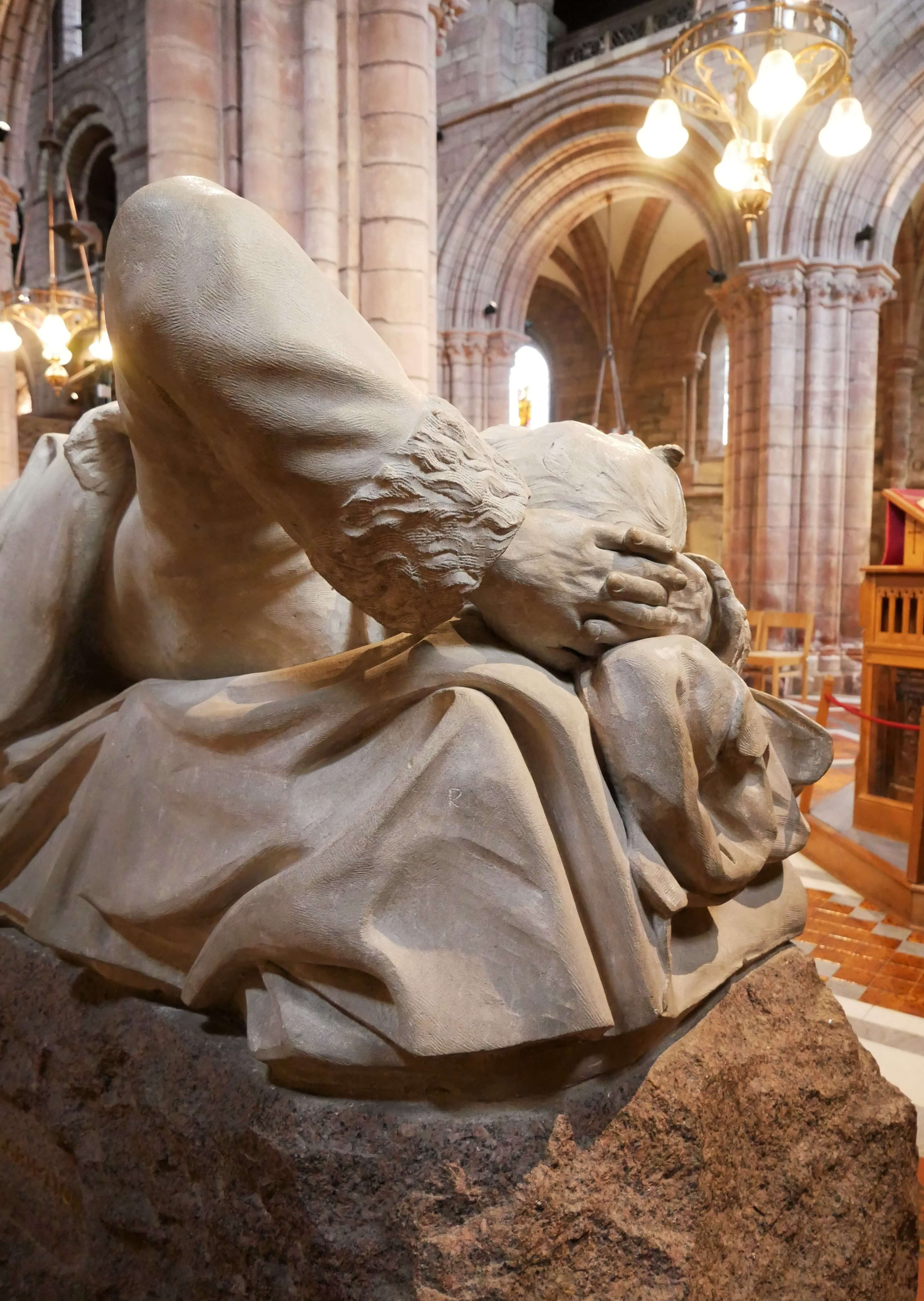 Statue memorial of Arctic explorer J Rae in St Magnus Cathedral, Orkney Islands, Scotland, UK