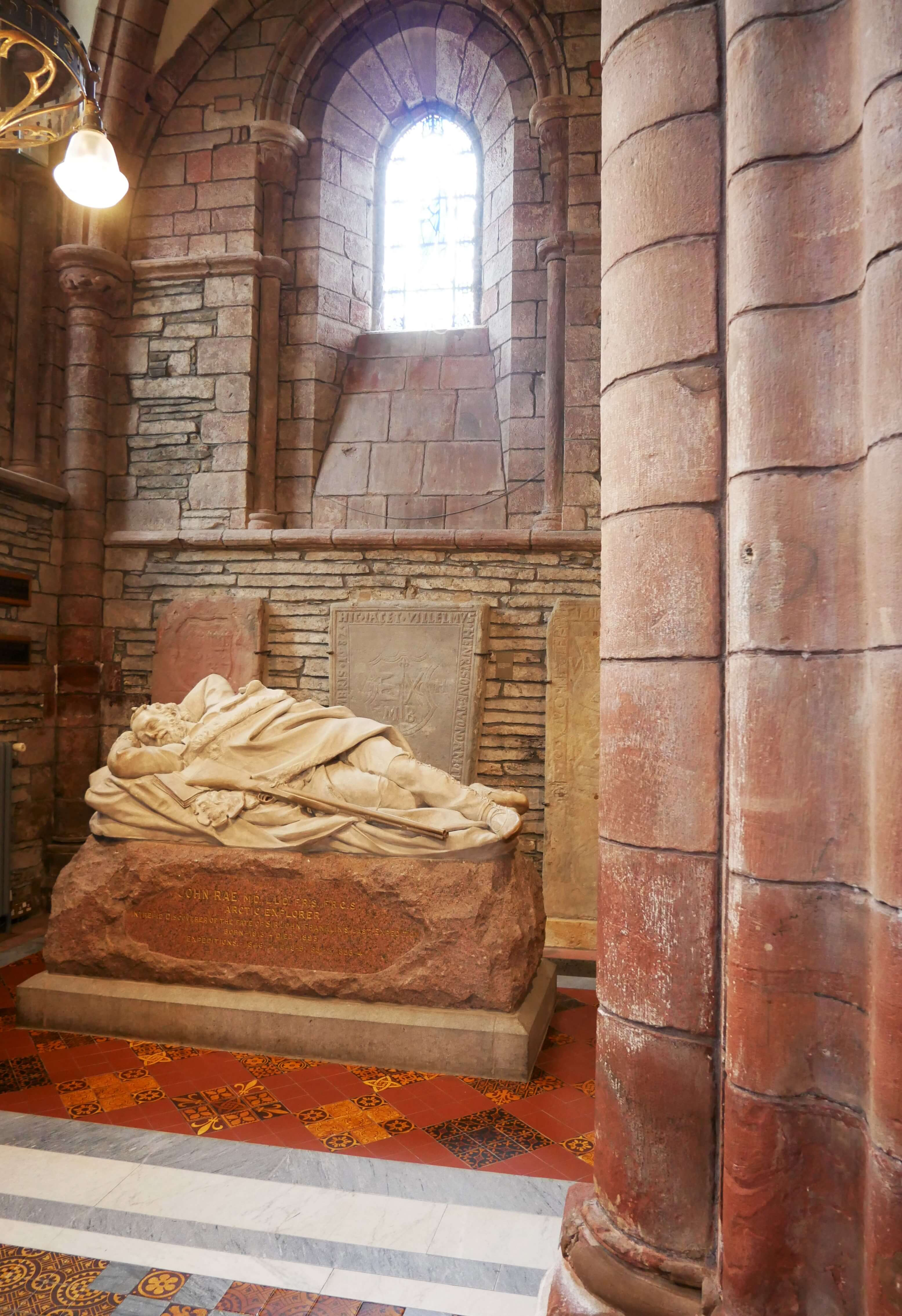 The statue of a sleeping Rae in St Magnus Cathedral, Kirkwall, Orkney Islands, Scotland, UK