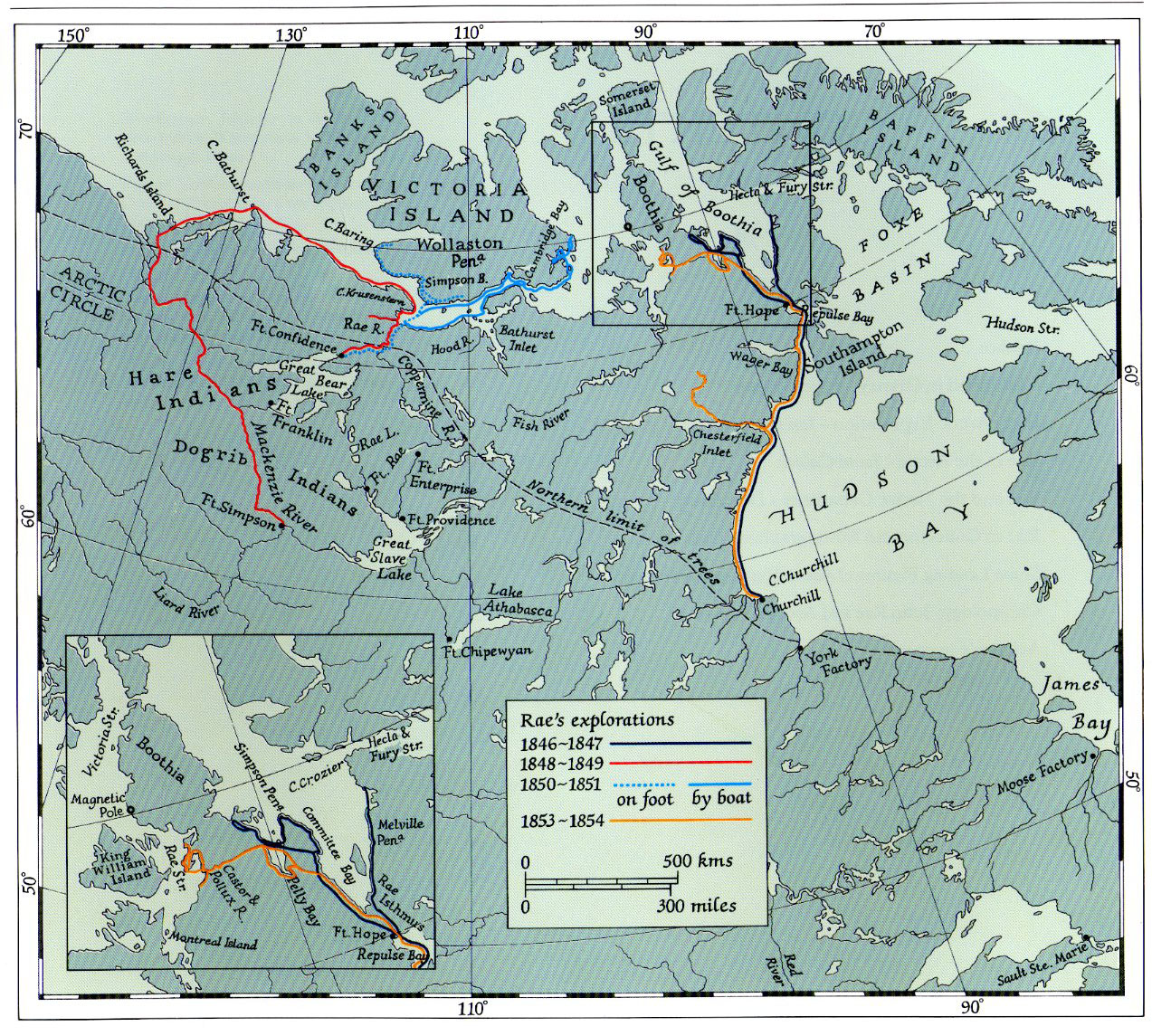 Map of Rae's Arctic expeditions by foot and boat