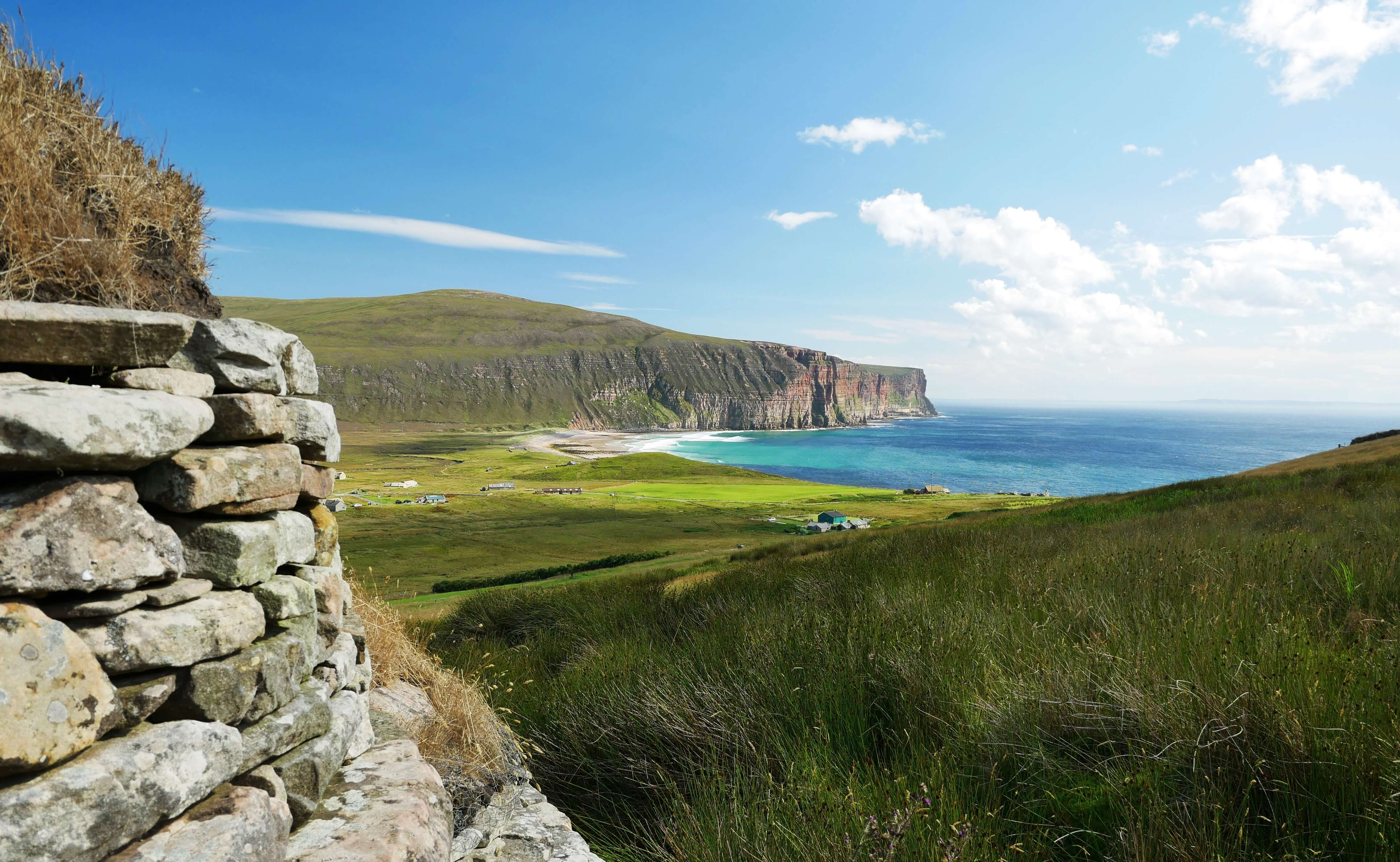 View from a folk museum, Rackwick, island of Hoy, Orkney, Scotland, UK