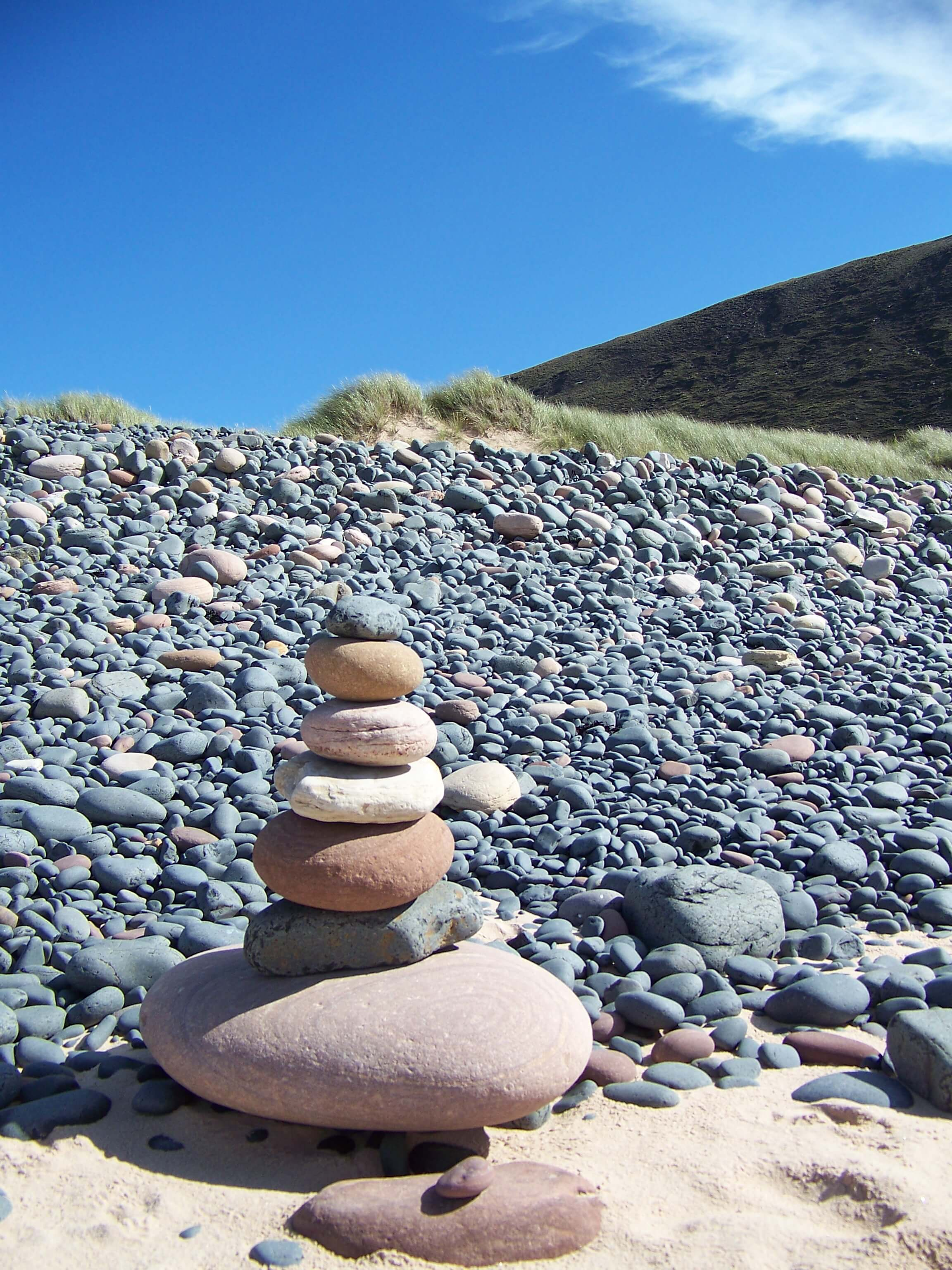 Rock stack left by a visitor on the beach, Hoy, Orkney
