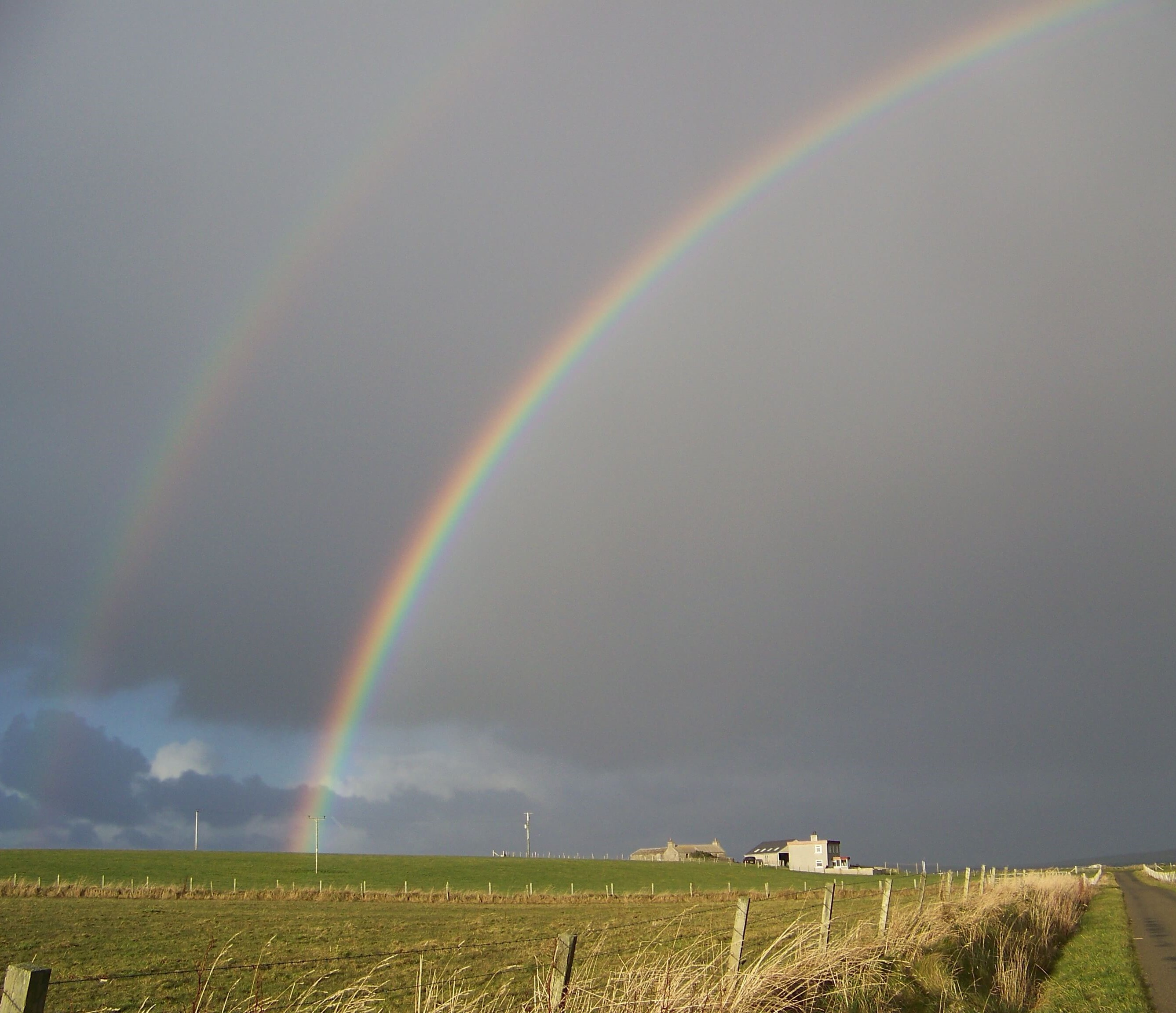 Double rainbow on the island of Westray, Orkney Islands