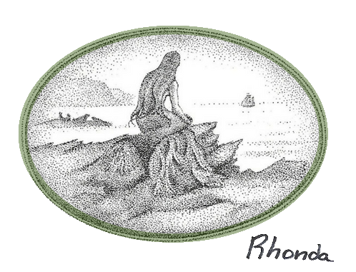 Stromness, Orkney Islands illustrator Bryce Wilson's Mermaid Bride as seen in Orcadian folklorist Tom Muir's The Mermaid Bride and Other Orkney Folktales.