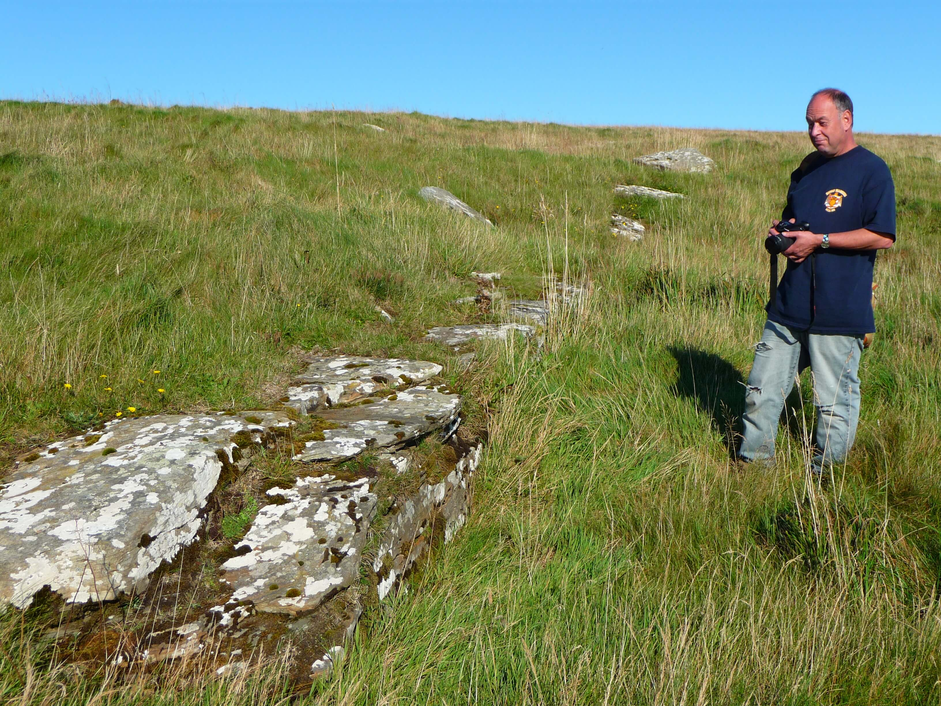Archaeologist Colin Richards at Vestrafiold where Neolithic builders quarried stone for the standing stones at Brodgar. www.Orkneyology.com