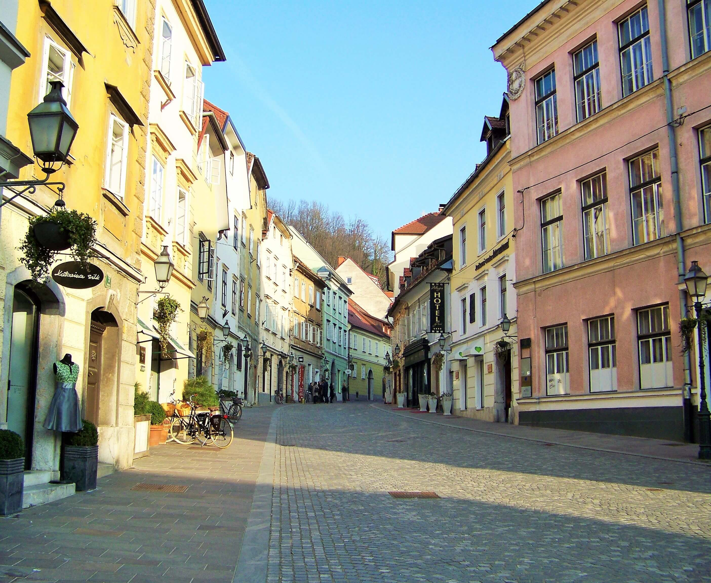 Colorful street in a Slovenian town. Orkneyology.com