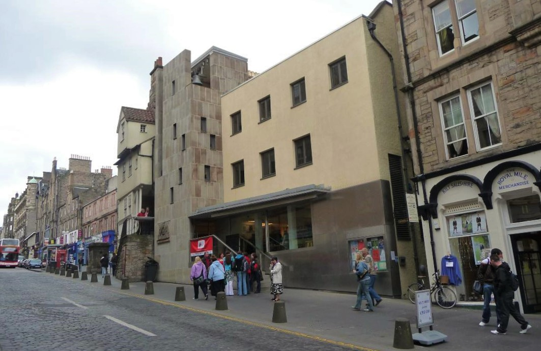 Edinburgh's Scottish Storytelling Centre, in the historic home of John Knox, with its historic 1621 Netherbow Port bell - back view.