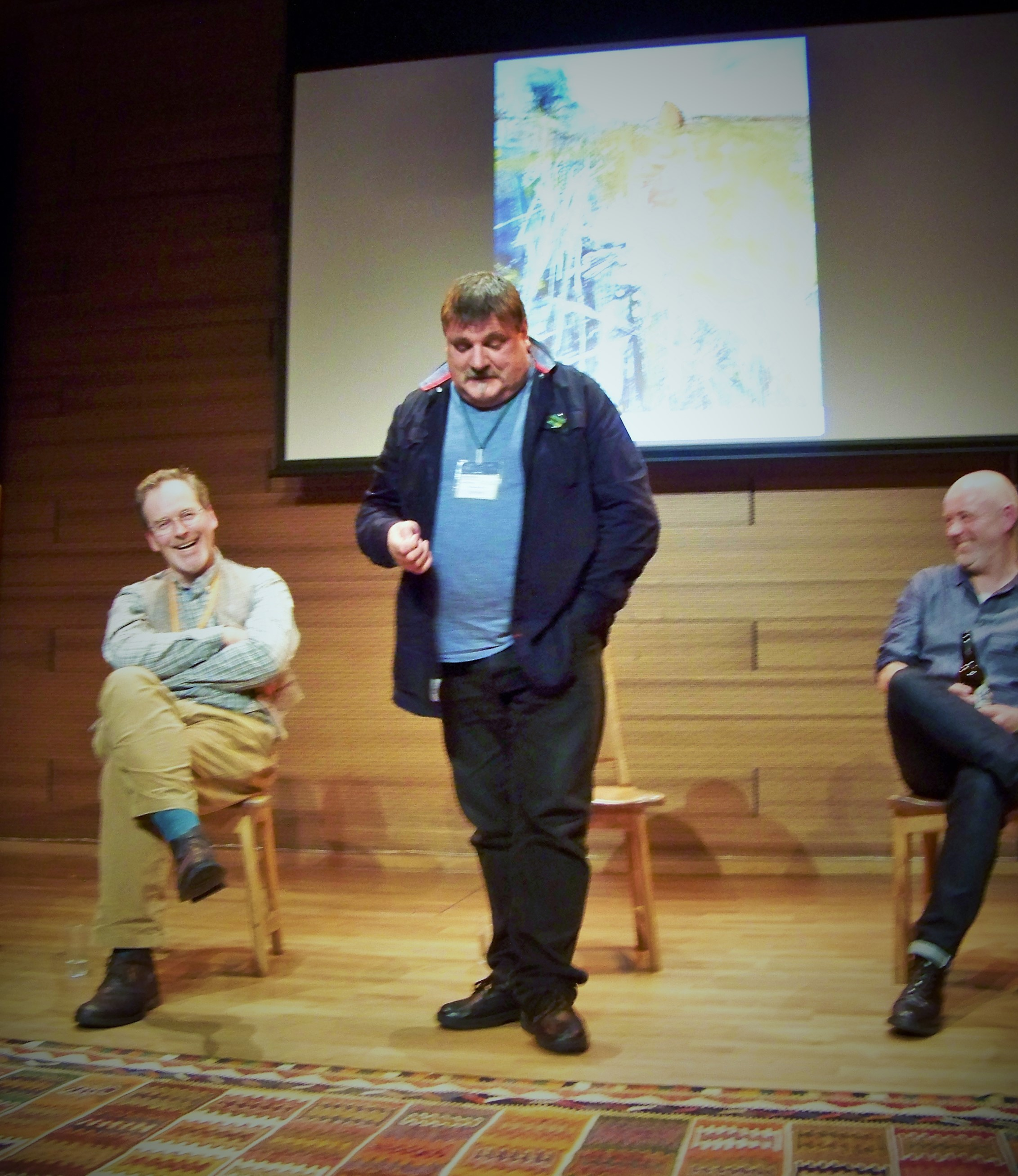 Donald Smith (left) of the Scottish Storytelling Centre in Edinburgh is entertained by Orcadian storyteller Tom Muir from Scotland's Orkney Islands. Orkneyology.com