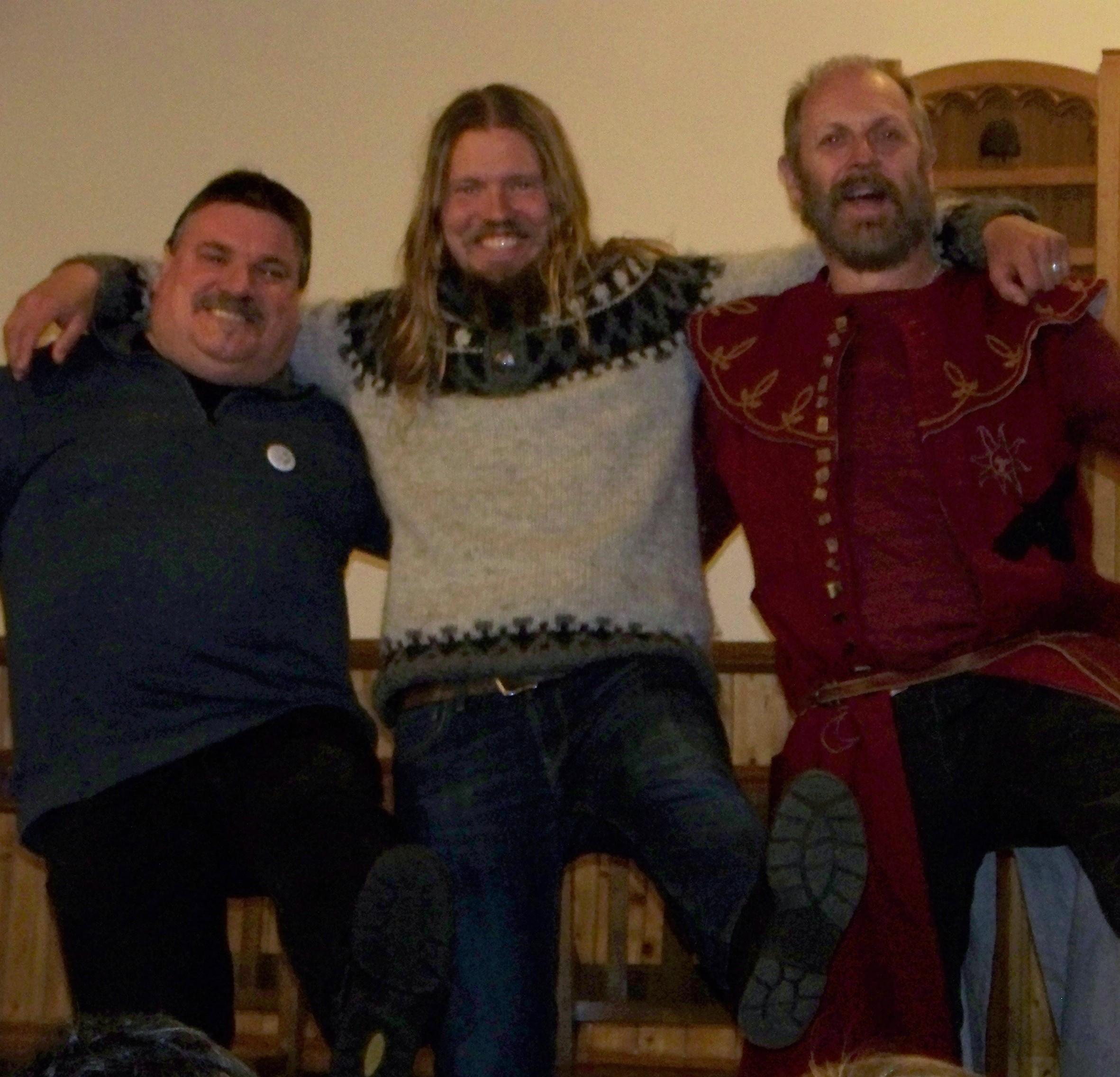 Viking storytellers, Tom Muir of Orkney, Hjorleifur Stefansson of Iceland and Jerker Fahlstrom of Sweden - at the Orkney Storytelling Festival