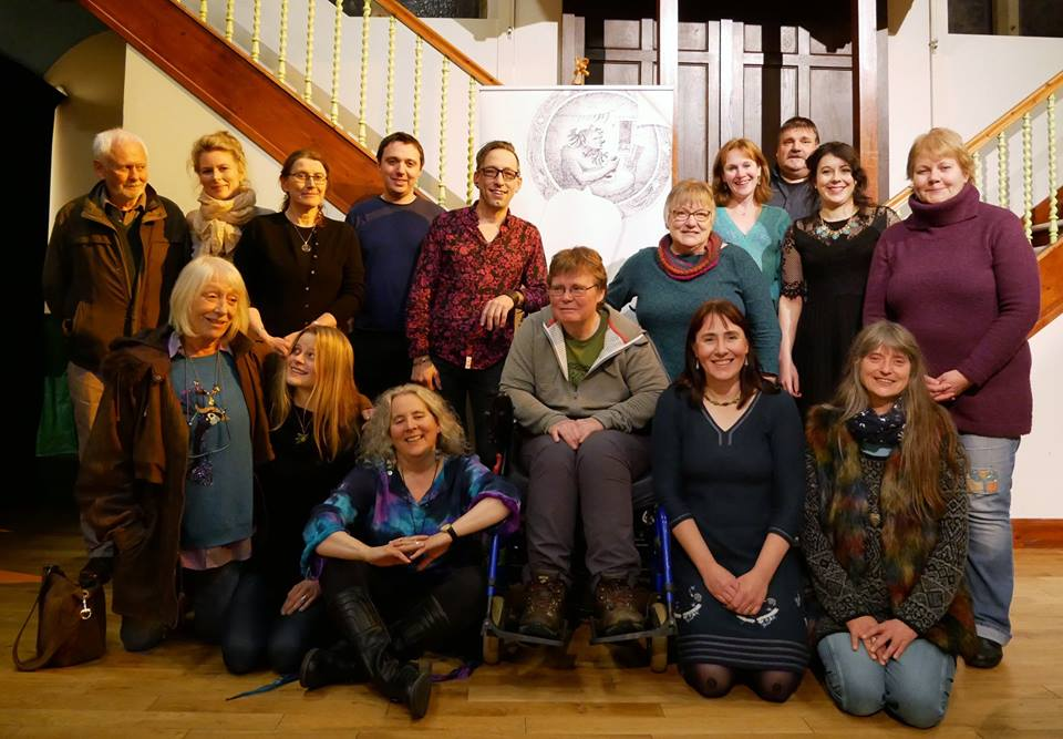 Some of the story-gang at the October 2018 storytelling festival in Scotland's Orkney Islands.