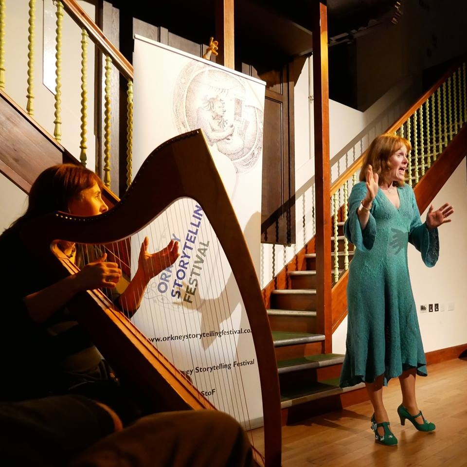 Storytellers Clair McNicol and Heather Yule performing at the annual storytelling festival in Sotland's Orkney Islands